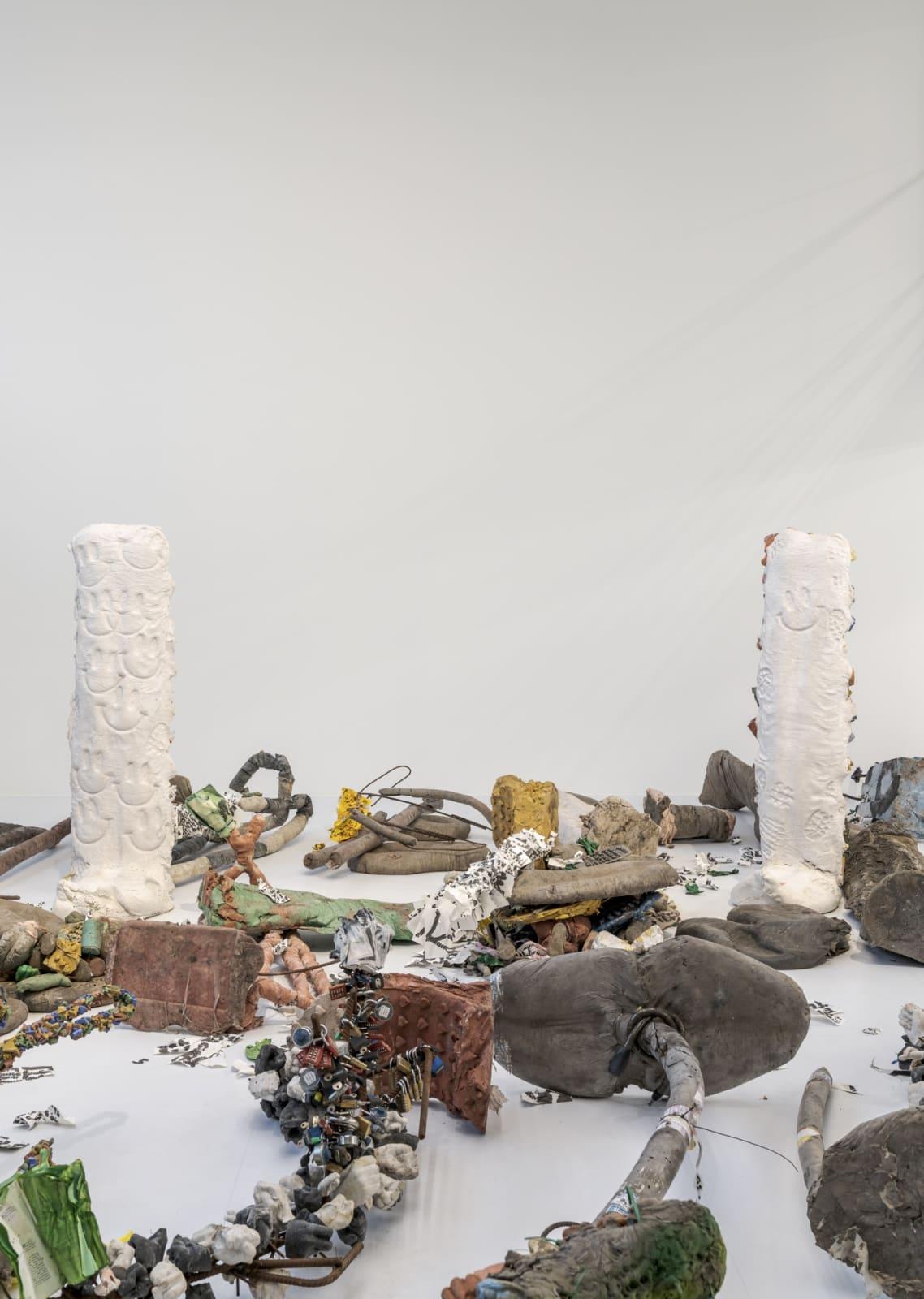 Michael Dean, Garden of Delete, 2021, Installation View, Barakat Contemporary