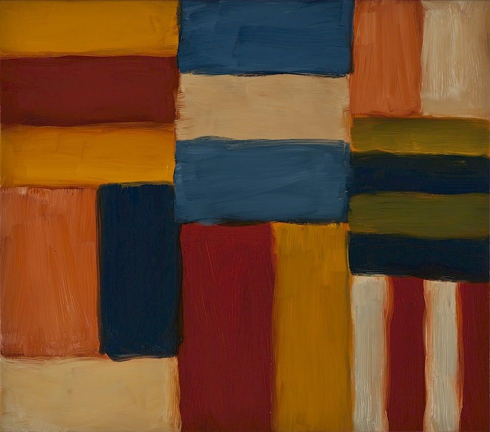 Sean Scully Cut Ground Orange Pink 6.11, 2011 Oil on linen 71.3 x 81.3 cm. (28.1 x 32 in)