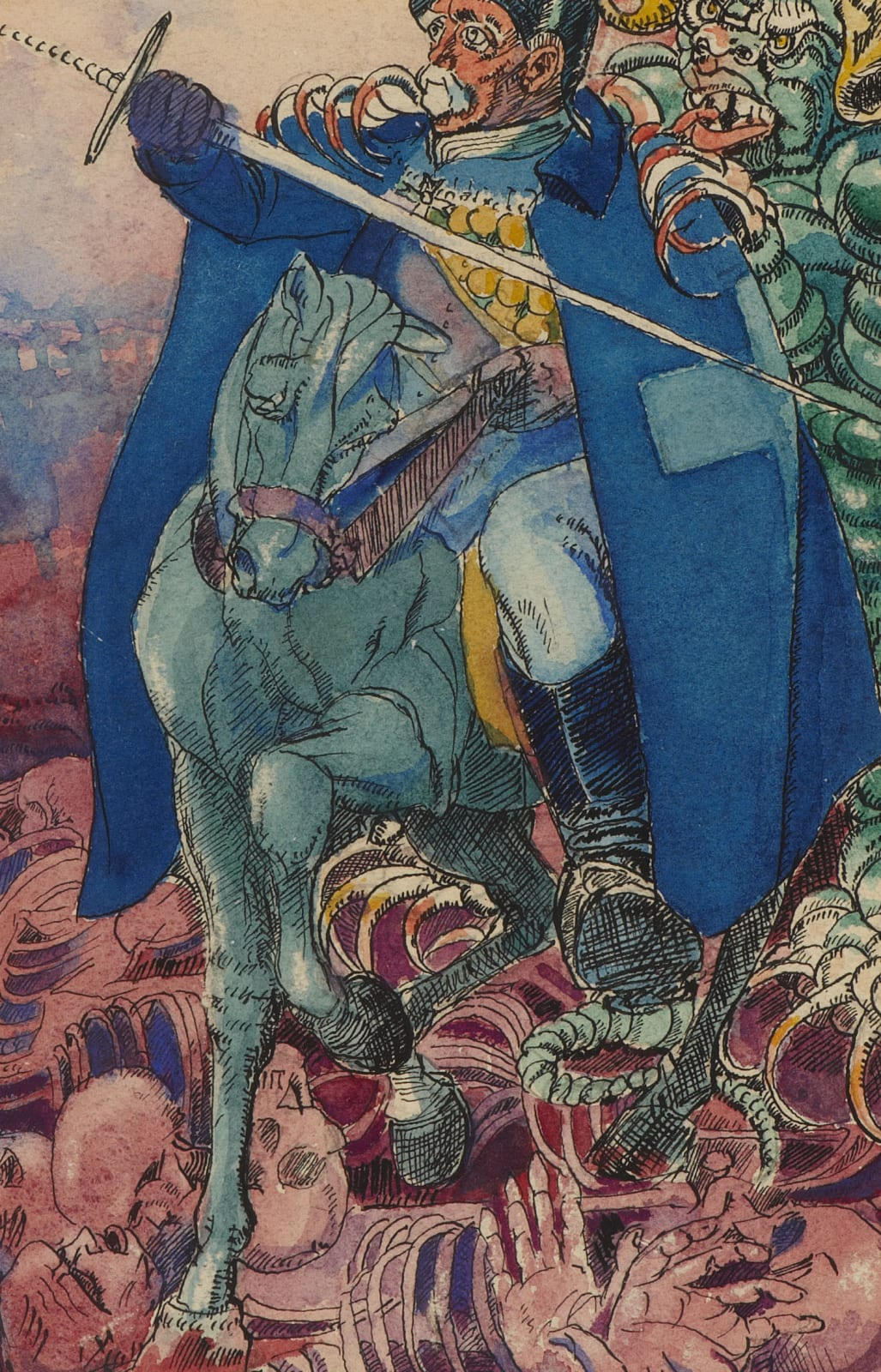 Untitled (Man on a Horse with a Sword) by Alfred Wolmark (1877-1961), 1925. Watercolour, pen and ink on paper.