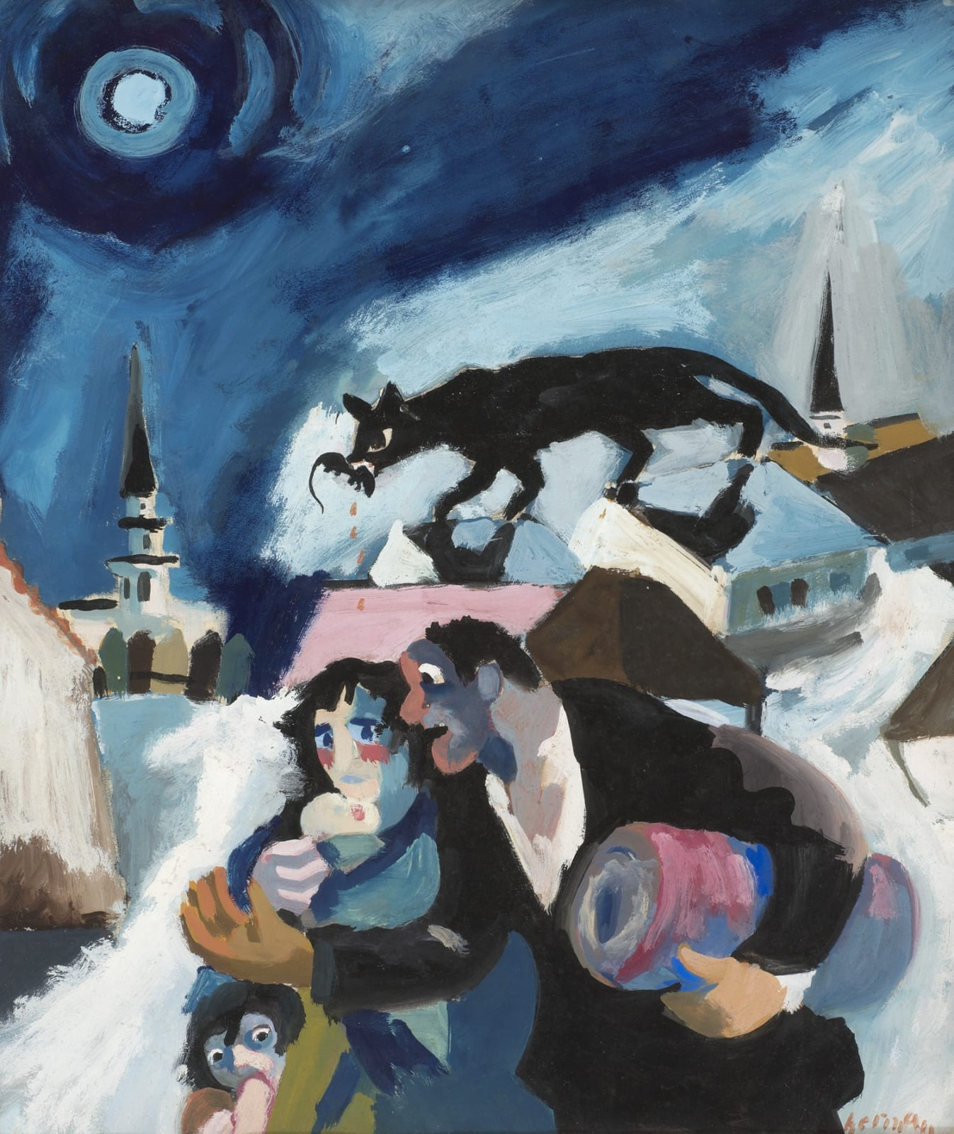 Refugees by Josef Herman (1911-2000), c.1941. Gouache on paper.