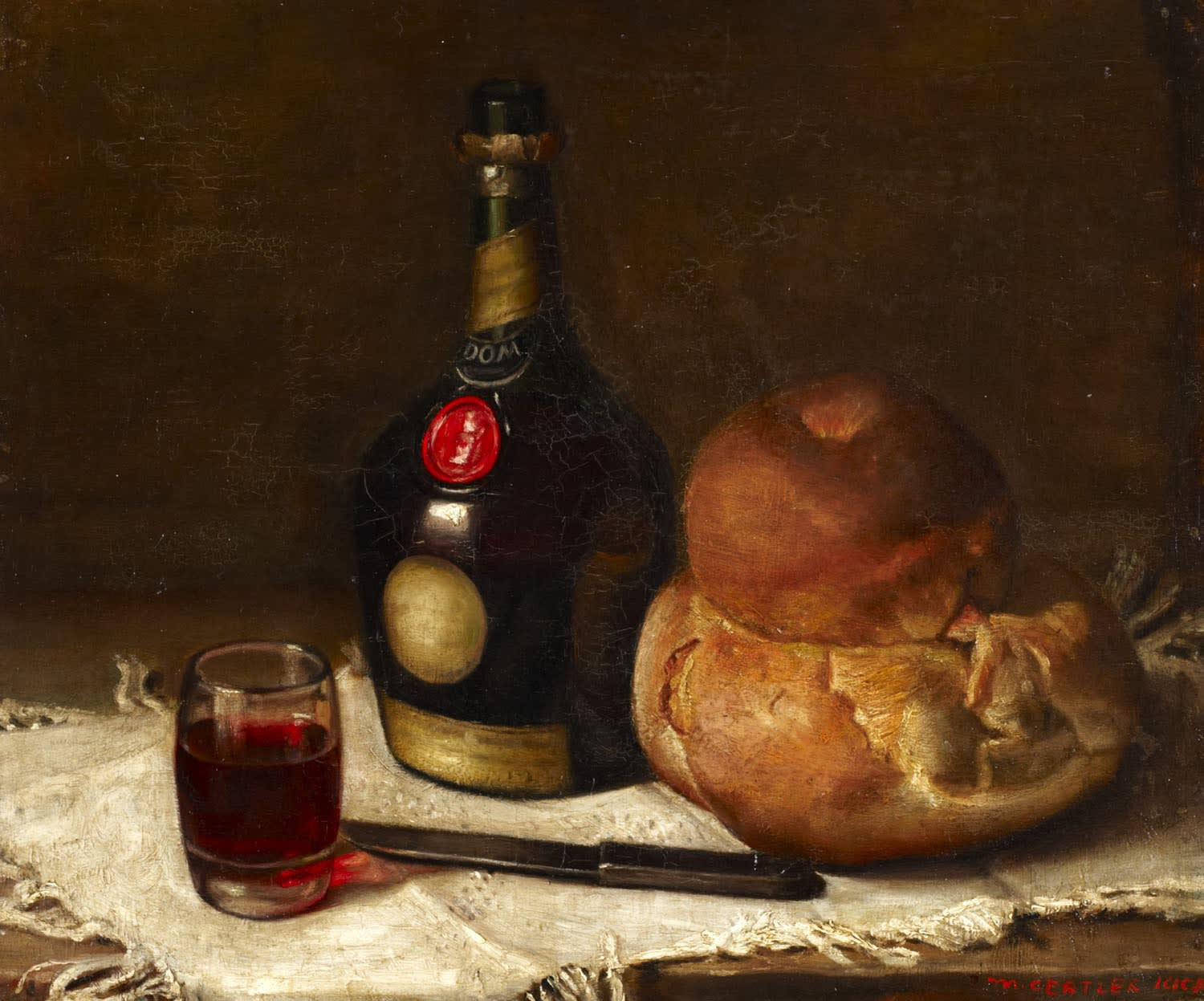 Still Life with a Bottle of Benedictine by Mark Gertler (1891-1939), 1908. Oil on Canvas.