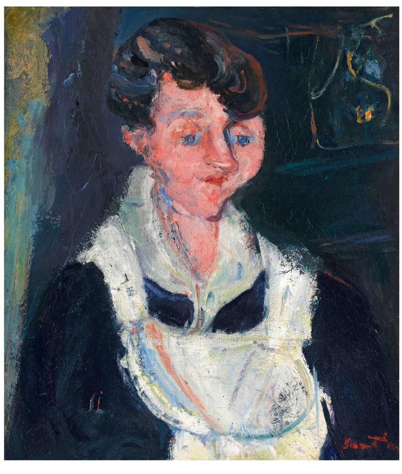 Jeune Servante (Waiting Maid, also known as La Soubrette) by Chaïm Soutine (1893-1943), c.1933. Oil on canvas.