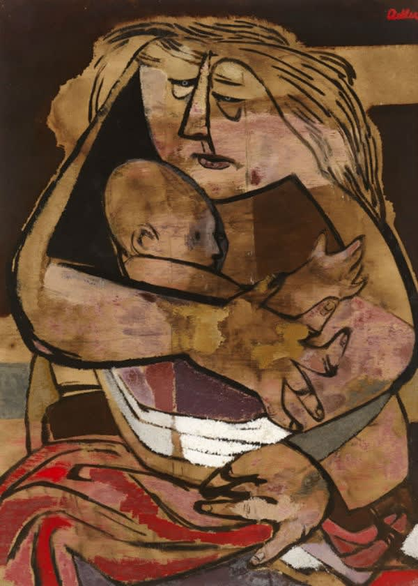 Jankel Adler (1895-1949) Mother and Child 1941 Oil on canvas 78.1 x 57.1 cm On loan to Ben Uri Collection To see and discover more about this artist click here