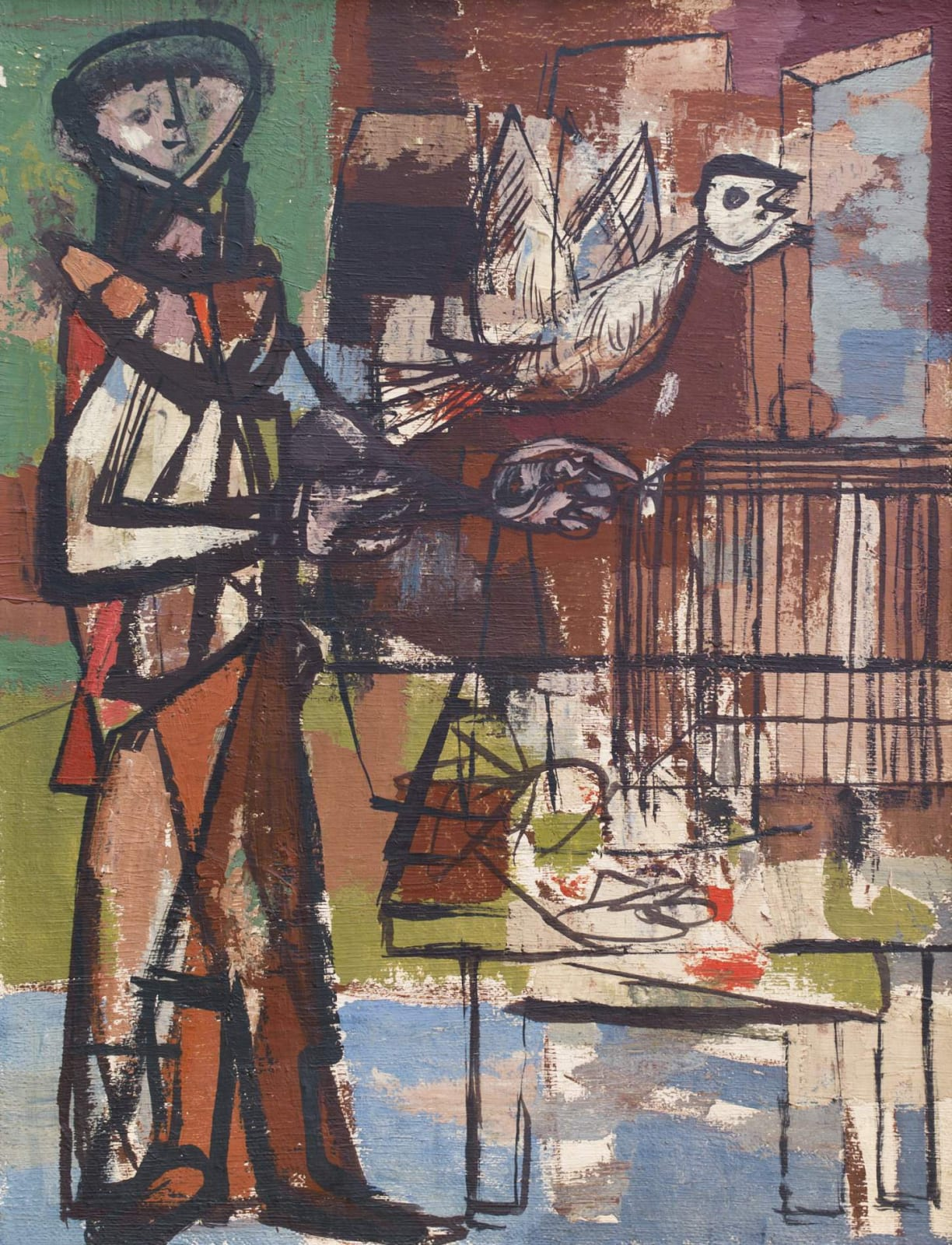 Jankel Adler (1895-1949) Bird and Cage c. 1948 Oil on canvas 91 x 69.5 cm Goldmark Gallery / Aukin Collection To see and discover more about this artist click here