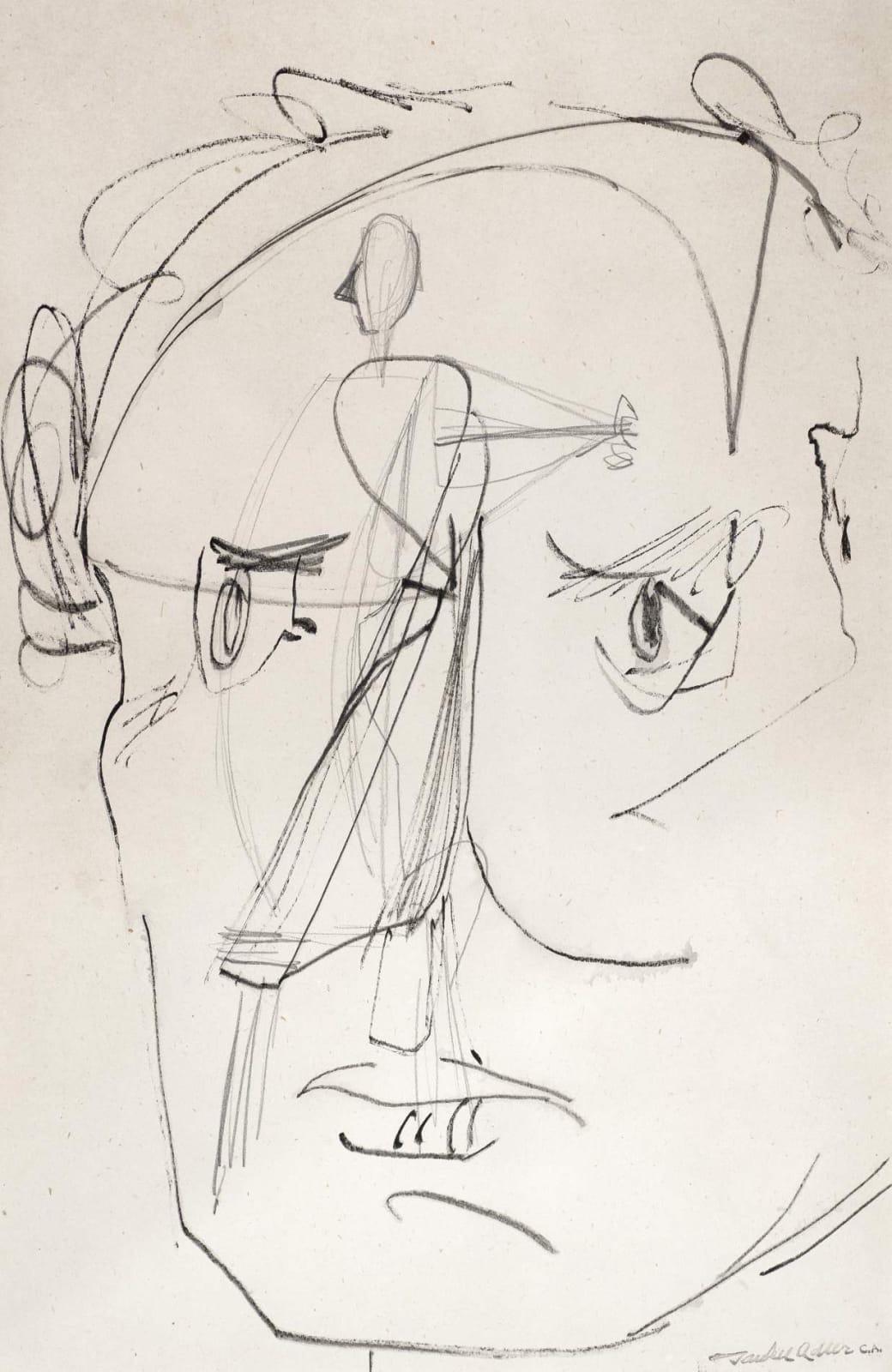 Jankel Adler (1895-1949) Self Portrait n.d. Pen and ink on paper 70 x 58 cm Charles Bezalel Aukin Collection To see and discover more about this artist click here