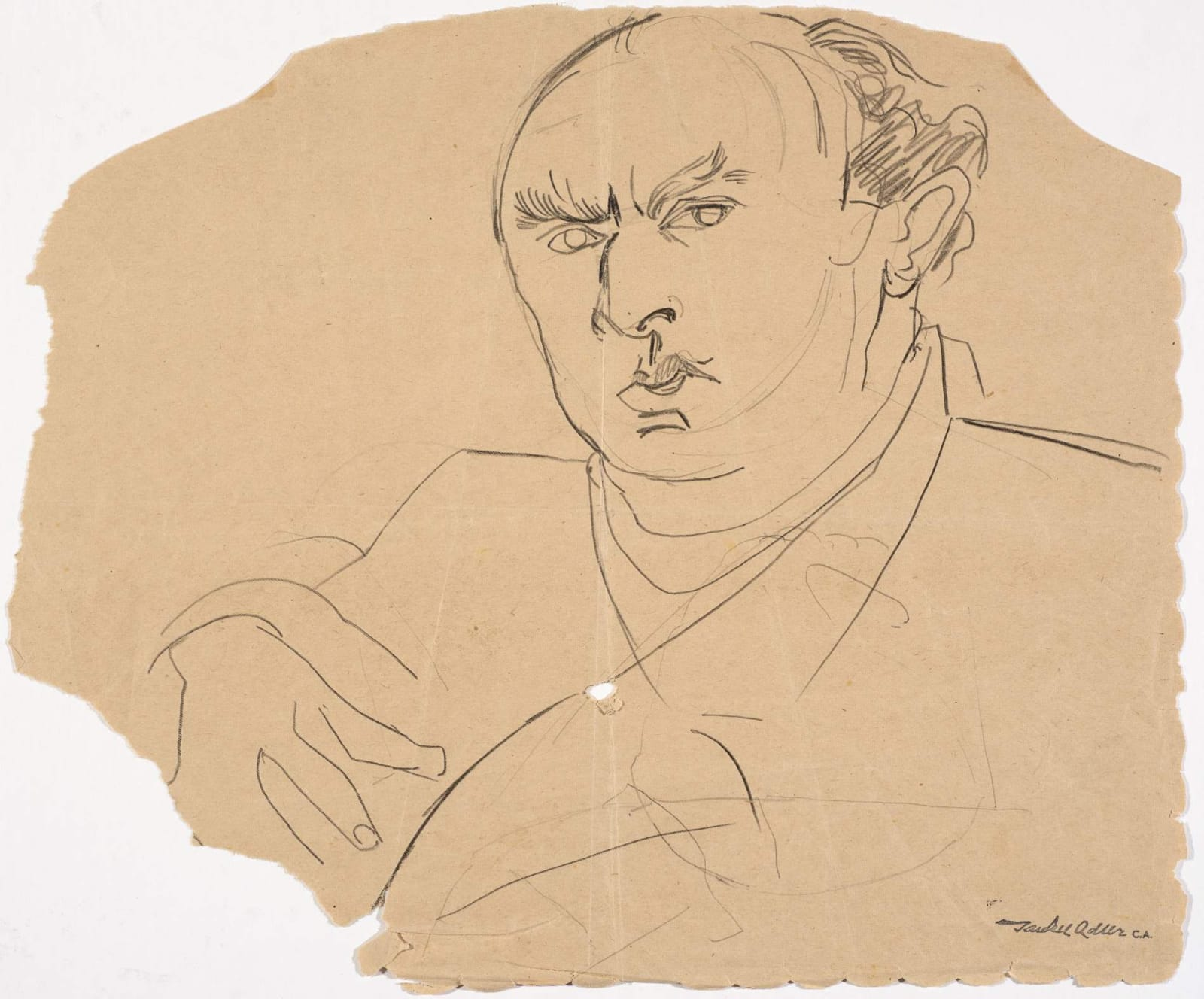 Jankel Adler (1895-1949) Self Portrait on torn paper n.d. Pencil on paper 29 x 33 cm Charles Bezalel Aukin Collection To see and discover more about this artist click here