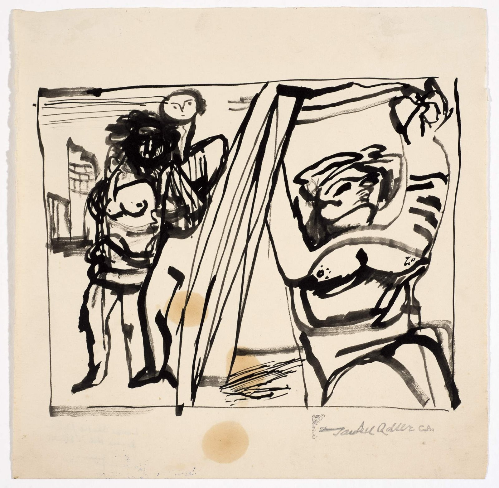 Jankel Adler (1895-1949) Untitled (Two Figures) n.d. Pen and ink on paper 18.5 x 18.5 cm Charles Bezalel Aukin Collection To see and discover more about this artist click here