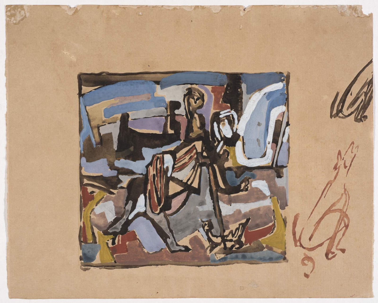 Jankel Adler (1895-1949) Untitled (with marginalia) n.d. Gouache on paper 26.5 x 21 cm Charles Bezalel Aukin Collection To see and discover more about this artist click here