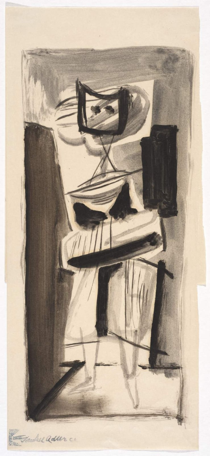 Jankel Adler (1895-1949) Untitled (Figure) n.d. Pen and ink on paper 31 x 13 cm Charles Bezalel Aukin Collection To see and discover more about this artist click here