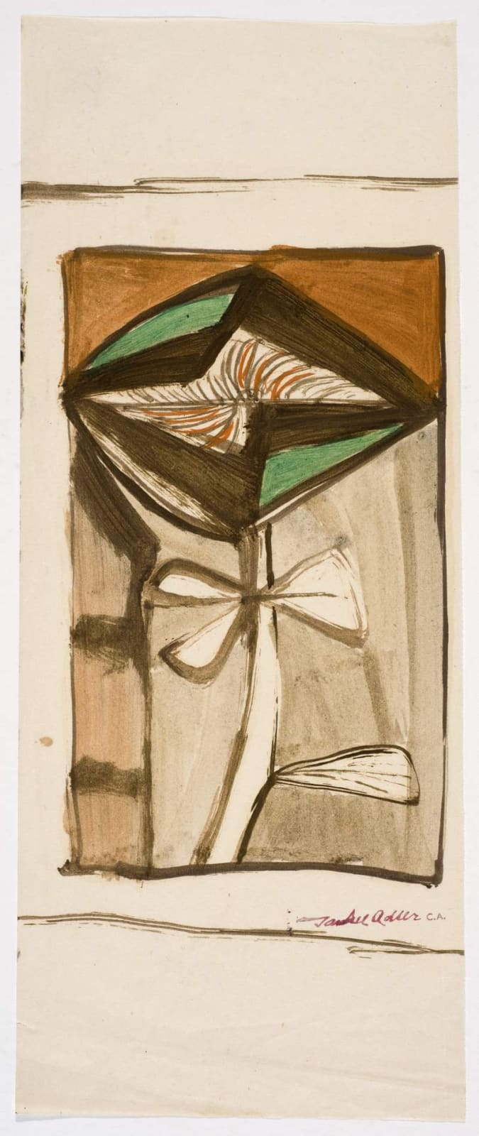 Jankel Adler (1895-1949) Untitled (Abstract Flower) n.d. Gouache on paper 33.5 x 13 cm Charles Bezalel Aukin Collection To see and discover more about this artist click here
