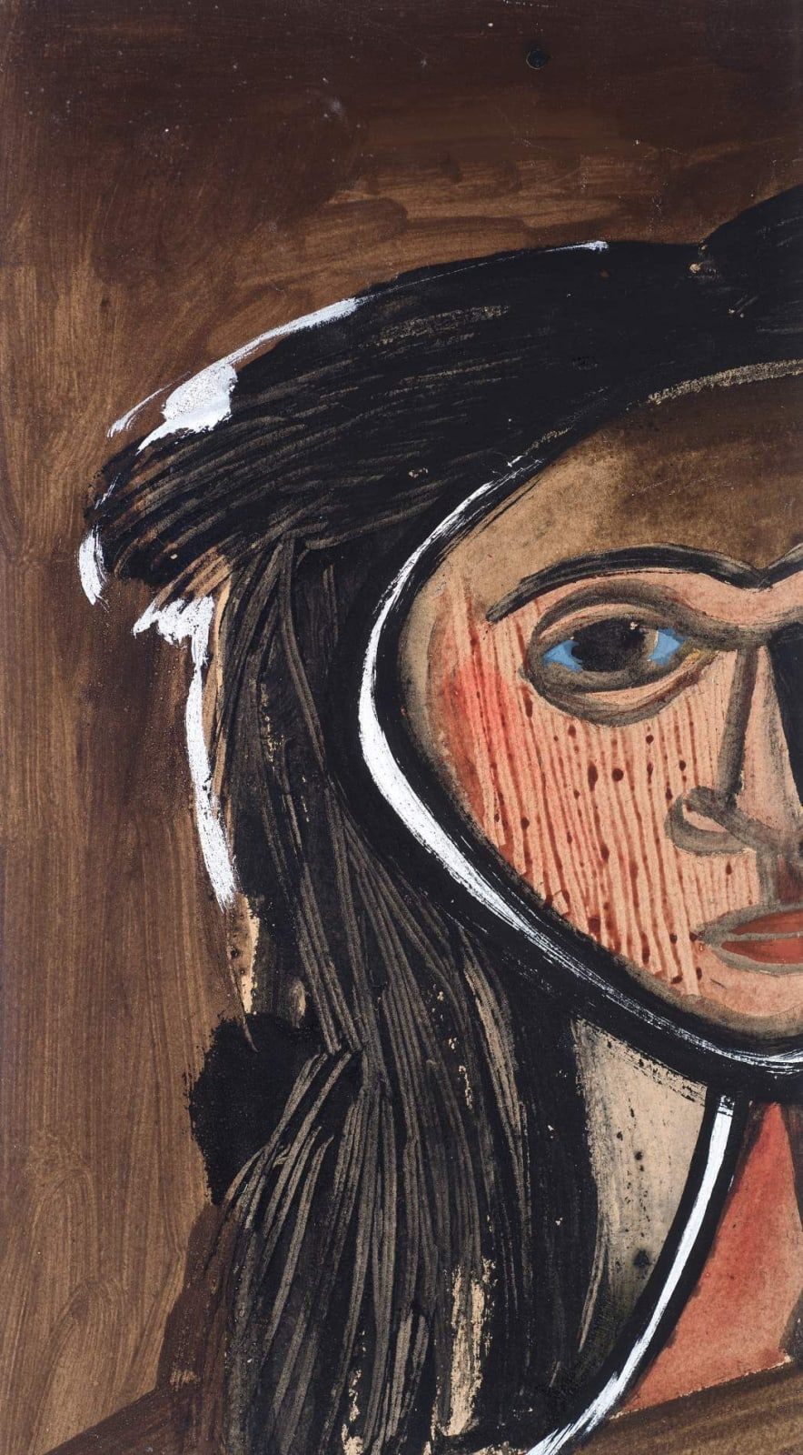 Jankel Adler (1895-1949) Head of a Woman (The Jewess) n.d. Oil on card 40.5 x 25.5 cm Jaffe Collection To see and discover more about this artist click here