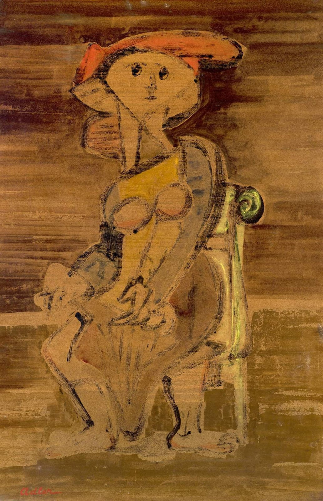 Jankel Adler (1895-1949) Seated Woman c. 1941 Oil on board 84 x 56 cm Private Collection To see and discover more about this artist click here