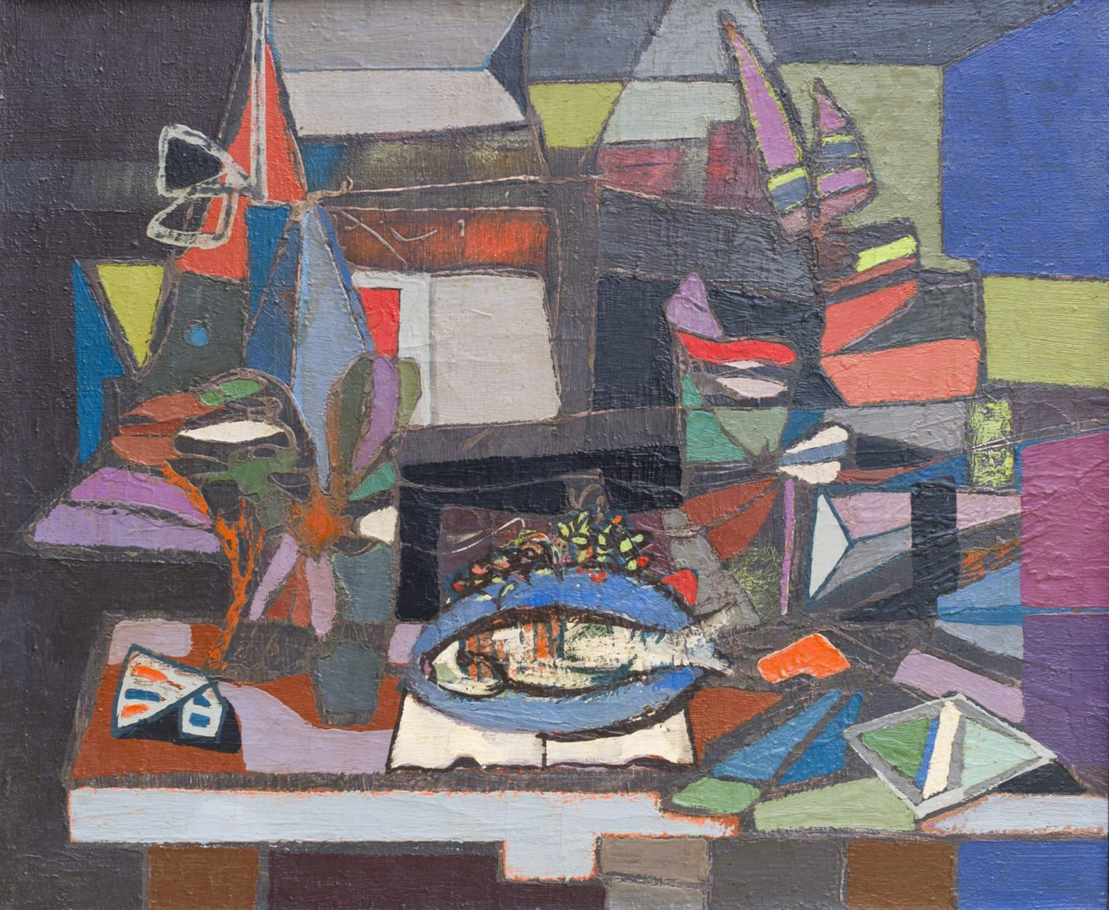 Jankel Adler (1895-1949) Composition with Fish 1940s Oil on canvas 63 x 75.5 cm Goldmark Gallery / Aukin Collection To see and discover more about this artist click here