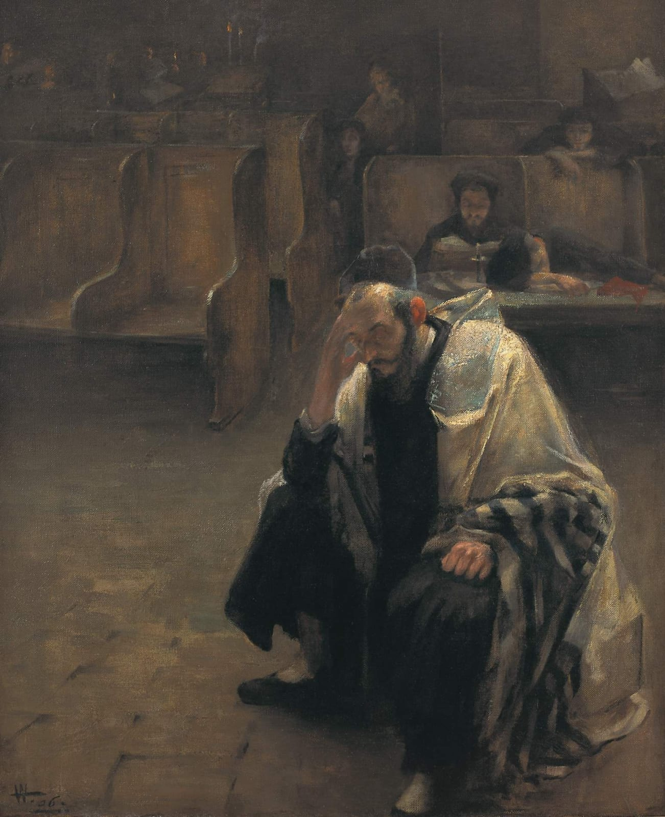 Alfred Wolmark (1877-1961) In the Synagogue 1906 Oil on canvas 106.5 x 88 cm Ben Uri Collection © Alfred Wolmark estate To see and discover more about this artist click here