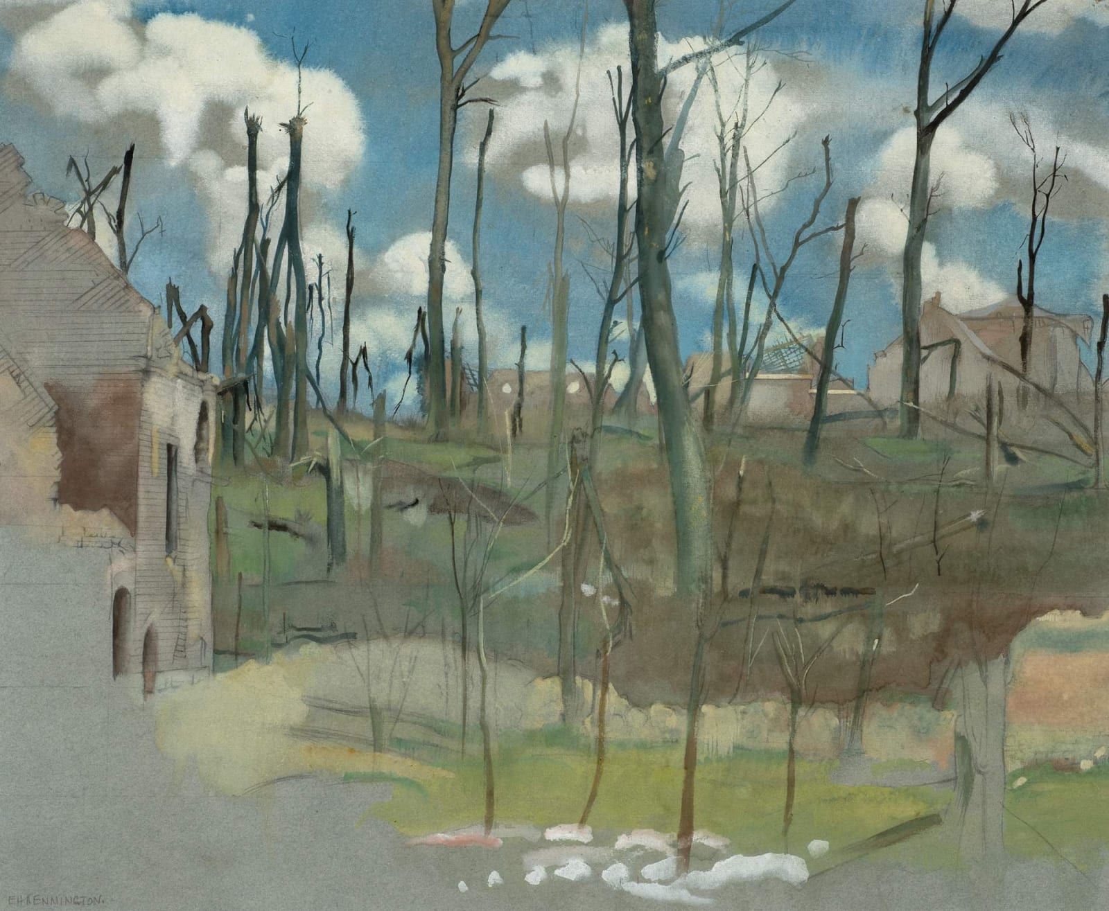 Eric Kennington (1888-1960) Bourlon Wood 1919 Watercolour, gouache, and pencil on paper 44.2 x 54.4 cm Private Collection © Eric Kennington estate To see and discover more about this artist click here