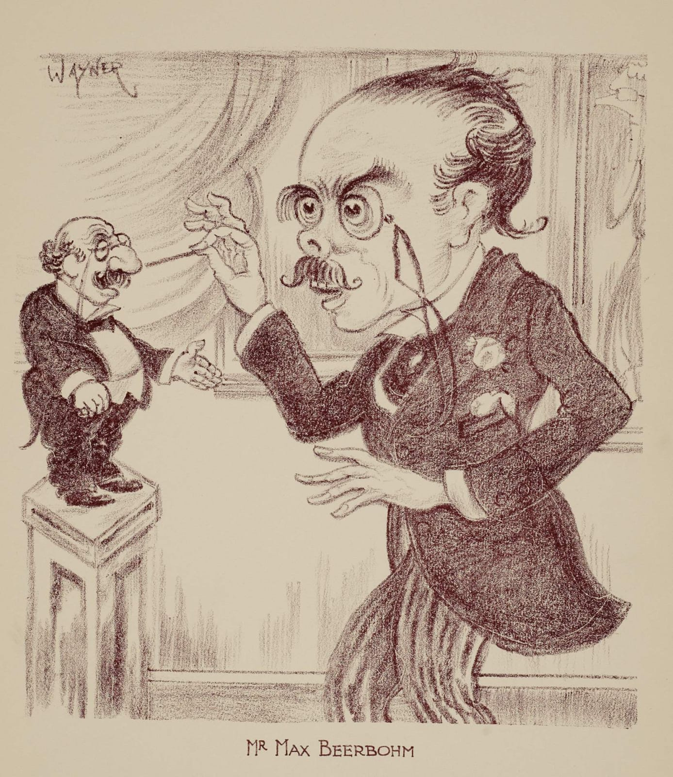 Mark Wayner (1888-1980) Celebrities in Caricature: Max Beerbohm c. 1931 Stone lithograph on paper 37.2 x 25.3 cm Ben Uri Collection © Mark Wayner estate To see and discover more about this artist click here