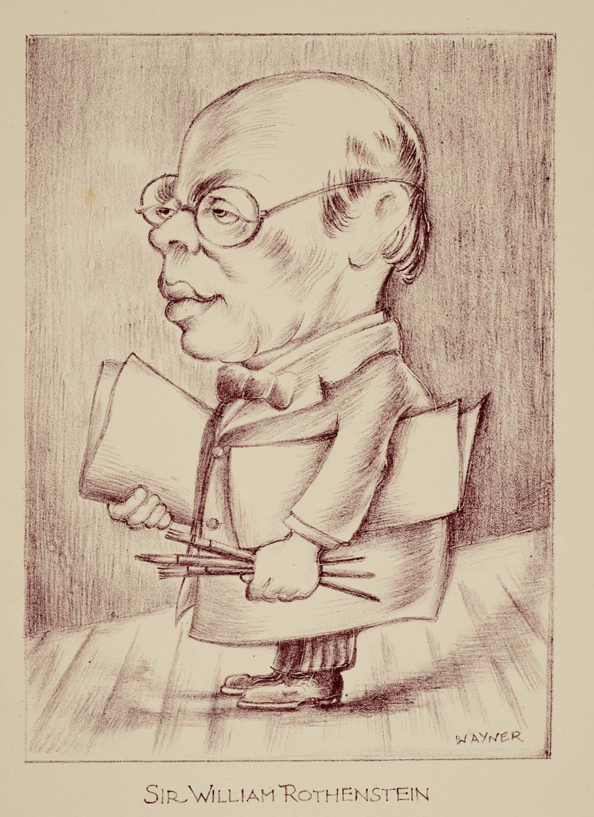 Mark Wayner (1888-1980) Celebrities in Caricature: Sir William Rothenstein c. 1940-43 Stone lithograph on paper 35.5 x 24 cm Ben Uri Collection © Mark Wayner estate To see and discover more about this artist click here