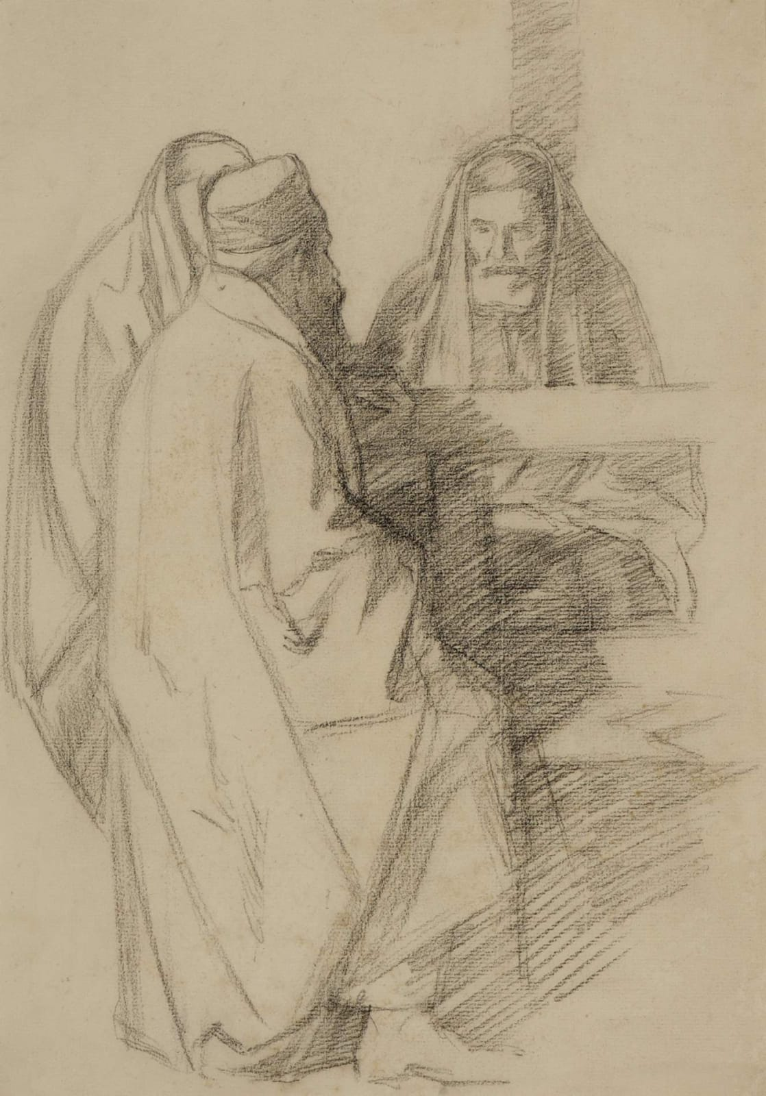 William Rothenstein (1872-1945) Talmudic Discussion c. 1905 Pencil on paper 37 x 25.5 cm Ben Uri Collection To see and discover more about this artist click here