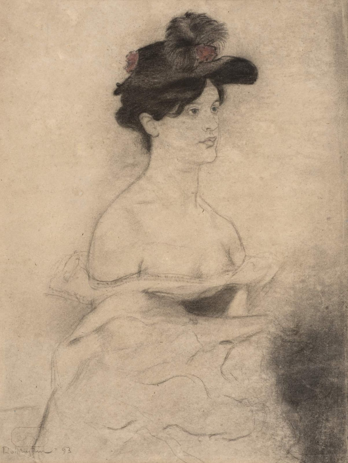 William Rothenstein (1872-1945) Woman in a Black Hat 1893 Chalk and pastel on paper 58.6 x 31.8 cm Private Collection To see and discover more about this artist click here