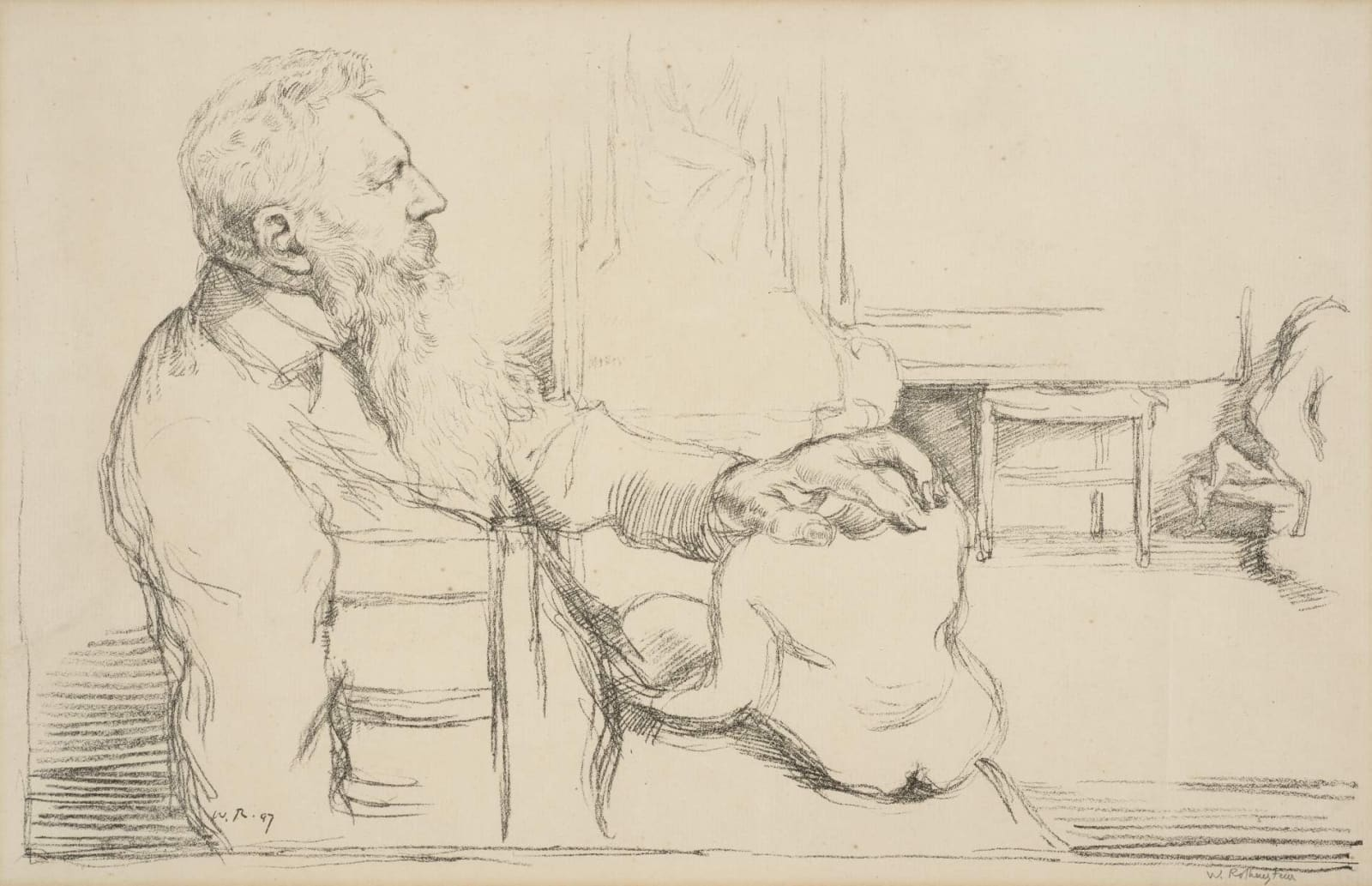 William Rothenstein (1872-1945) Portrait of Auguste Rodin 1897 Lithograph published as part of The French Set 39 x 53 cm Bradford Museums and Galleries To see and discover more about this artist click here