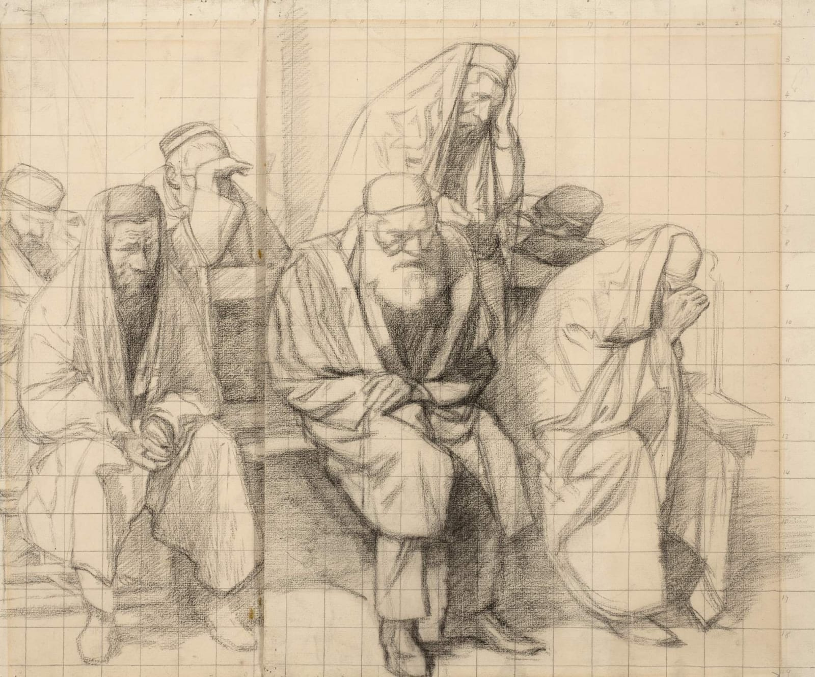 William Rothenstein (1872-1945) Jews Mourning in a Synagogue 1906 Pencil on squared paper 43.2 x 52.4 cm Bradford Museums and Galleries To see and discover more about this artist click here