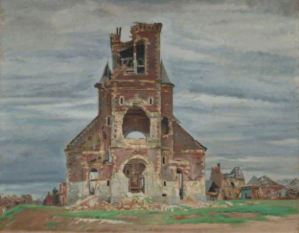 William Rothenstein (1872-1945) The Church at Bourlon c.1919 Oil on canvas 80.5 x 100 cm Manchester City Galleries To see and discover more about this artist click here