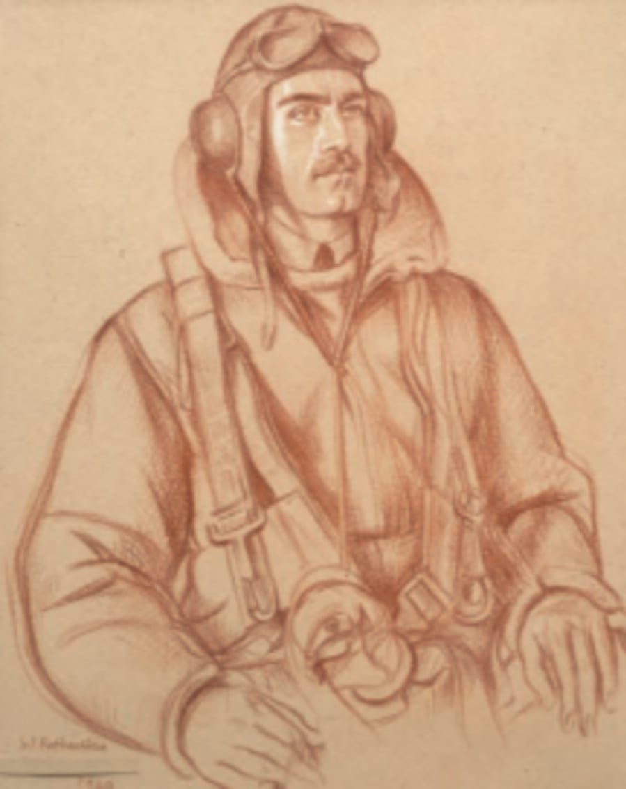 William Rothenstein (1872-1945) A Sergeant from the Royal Air Force c. 1940 Sanguine on paper 48 x 22.5 cm Bradford Museums and Galleries To see and discover more about this artist click here