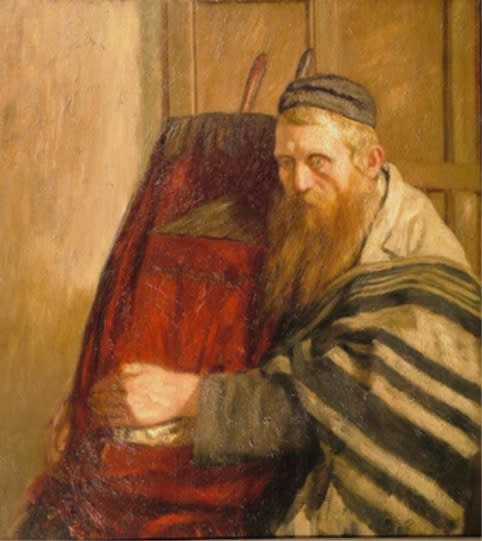 William Rothenstein (1872-1945) Rabbi Holding the Torah c. 1902-07 Oil on canvas 76 x 69 cm Private Collection To see and discover more about this artist click here