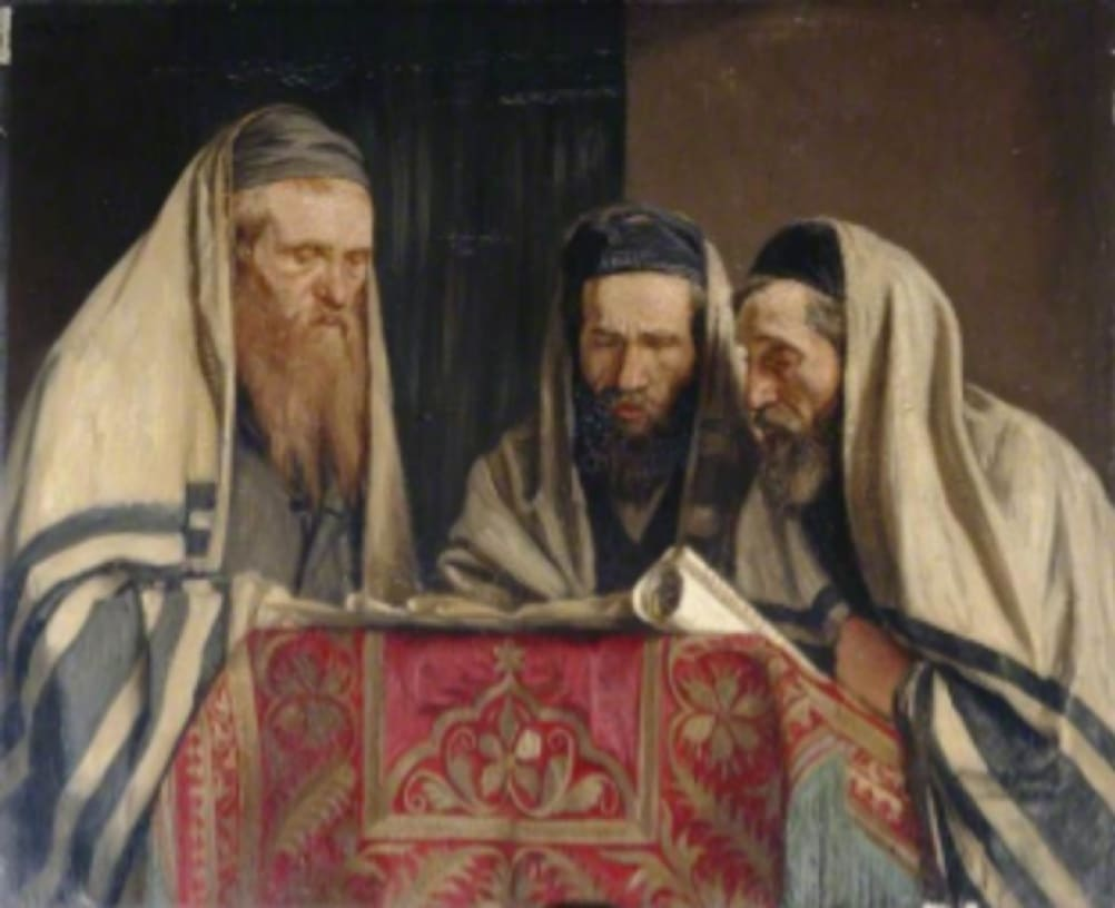 William Rothenstein (1872-1945) Reading the Book of Esther 1907 Oil on canvas 87 x 106.5 cm Manchester City Galleries To see and discover more about this artist click here