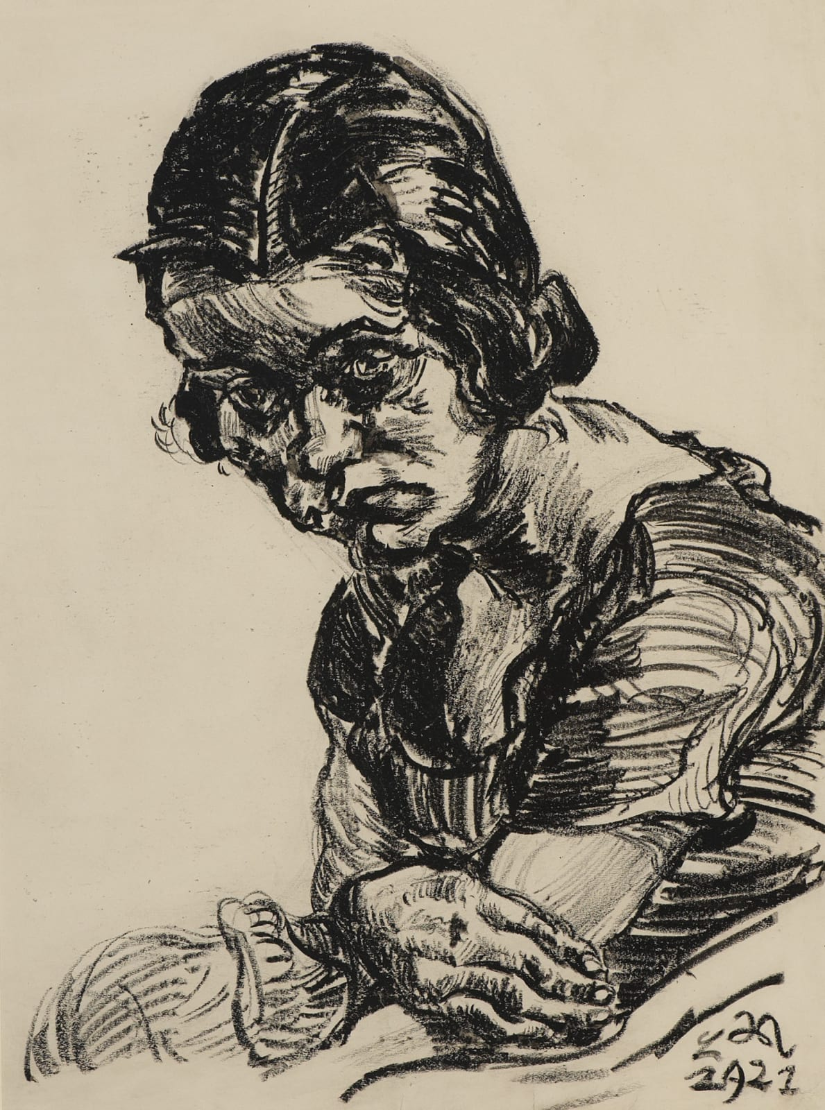 Ludwig Meidner (1884-1966) Portrait of a Girl 1921 Charcoal on paper 68 x 50.5 cm Ben Uri Collection © Ludwig Meidner estate To see and discover more about this artist click here