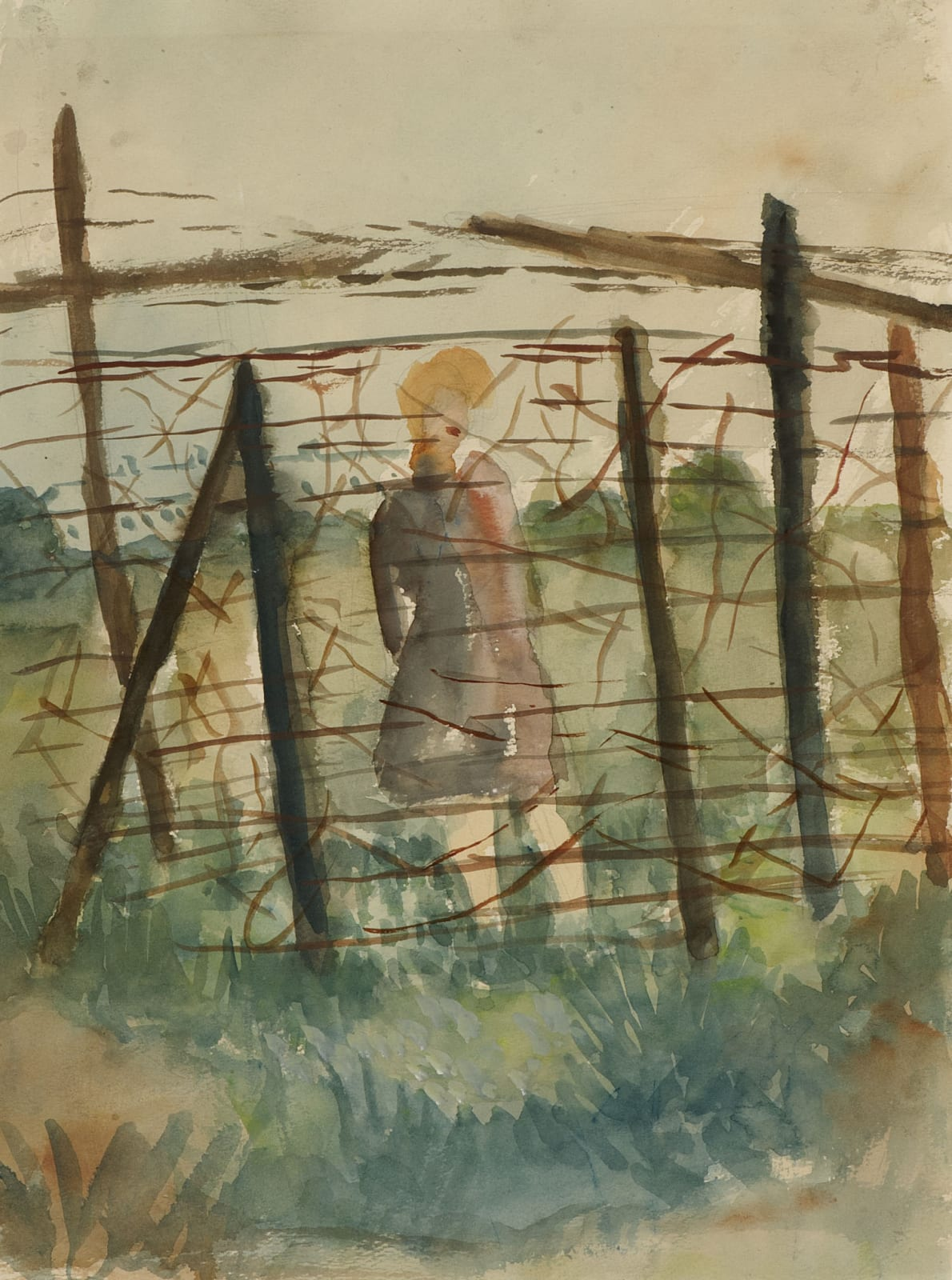 Alfred Lomnitz (1892-1953) Girl Behind Barbed Wire n.d. Watercolour on paper 36.5 x 27 cm Ben Uri Collection © Alfred Lomnitz estate To see and discover more about this artist click here