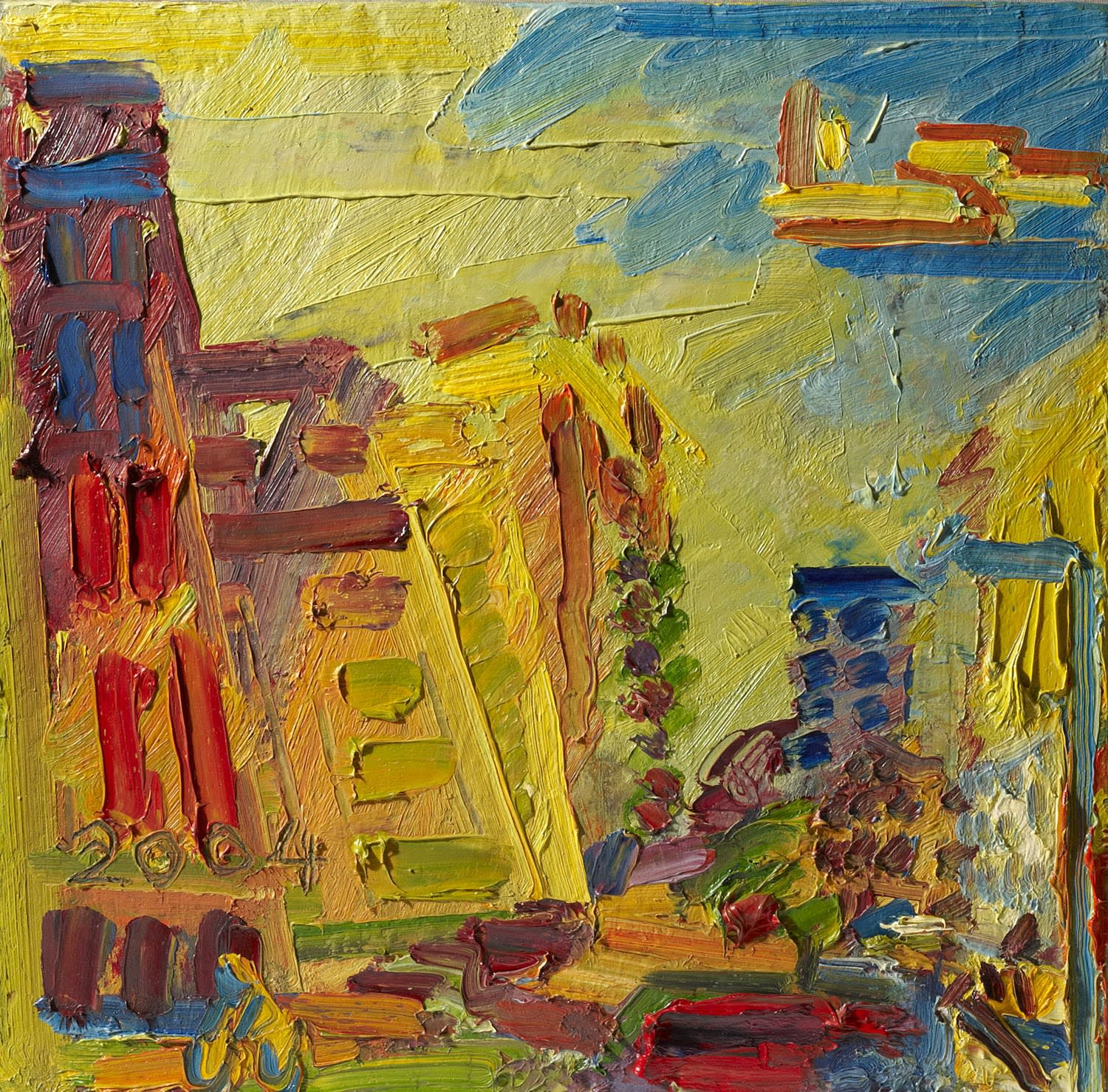 Frank Auerbach (1931-) Mornington Crescent, Summer Morning II 2004 Oil on board 51 x 51 cm Ben Uri Collection © Frank Auerbach, courtesy Marlborough Fine Art To see and discover more about this artist click here
