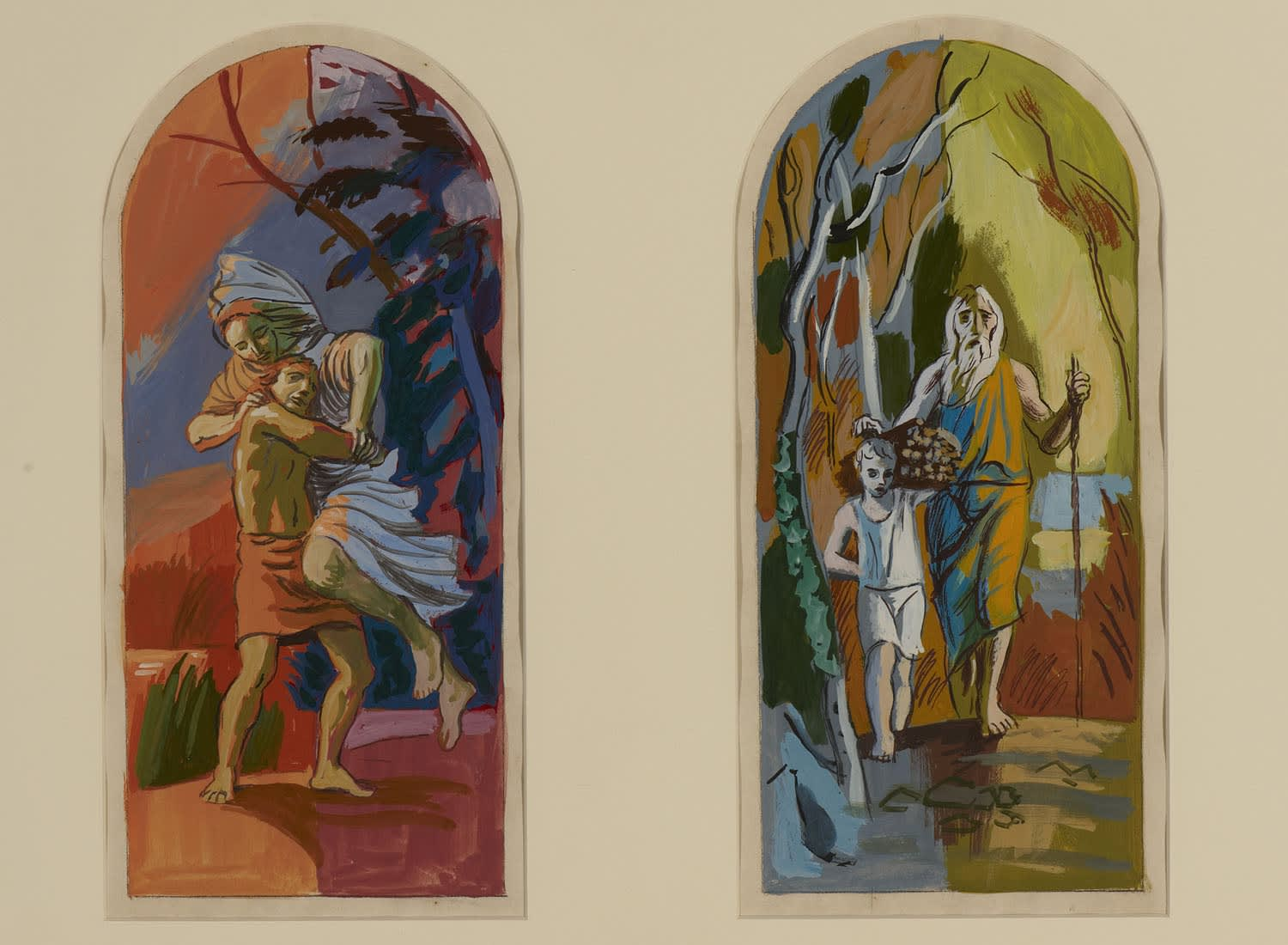 Hans Feibusch (1898-1998) Six Scenes from the Old Testament: Jacob Wrestling with the Angel (left) Abraham and Isaac (right) n.d. Gouache on paper 31.5 x 15 cm Ben Uri Collection © Hans Feibusch estate To see and discover more about this artist click here