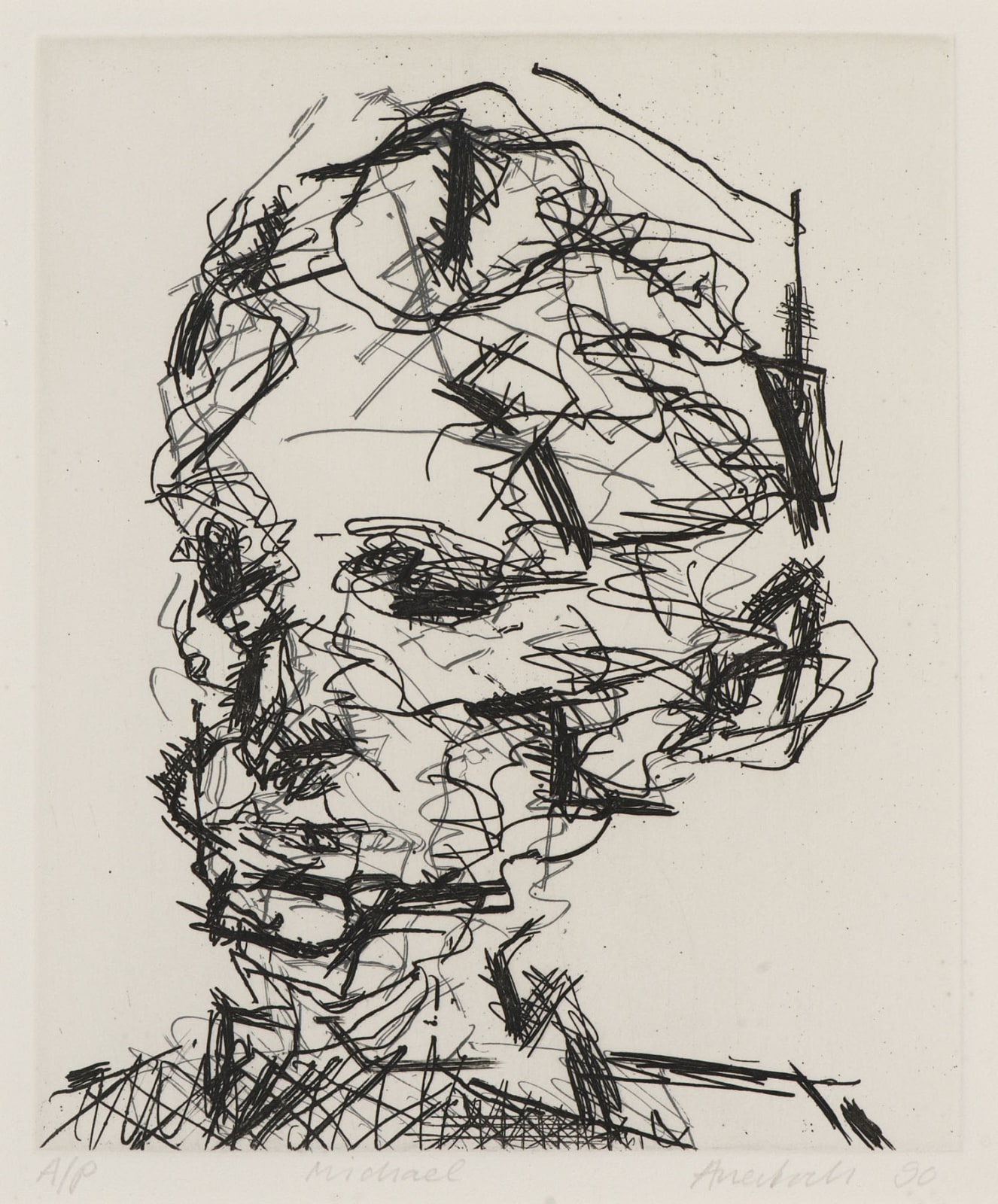 Frank Auerbach (1931-) Michael, Part of Seven Portarits 1990 Etching, printed on Somerset white paper, artist's proof outside the published edition of 50 20 x 16.5 cm Ben Uri Collection © Frank Auerbach, courtesy Marlborough Fine Art To see and discover more about this artist click here