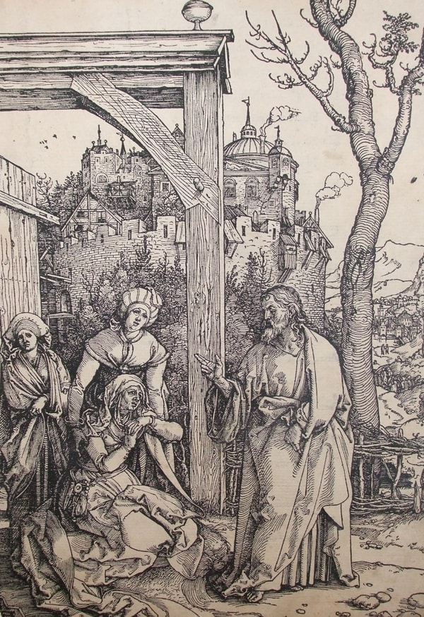 Albrecht Dürer (1471-1528) Christ Taking Leave of His Mother (from the series of seventeen cuts of the Life of the Virgin book, edition 1511, with Latin text verso) c.1507 Woodcut on paper 29.4 x 20.8 cm Ben Uri Collection To see and discover more about this artist click here
