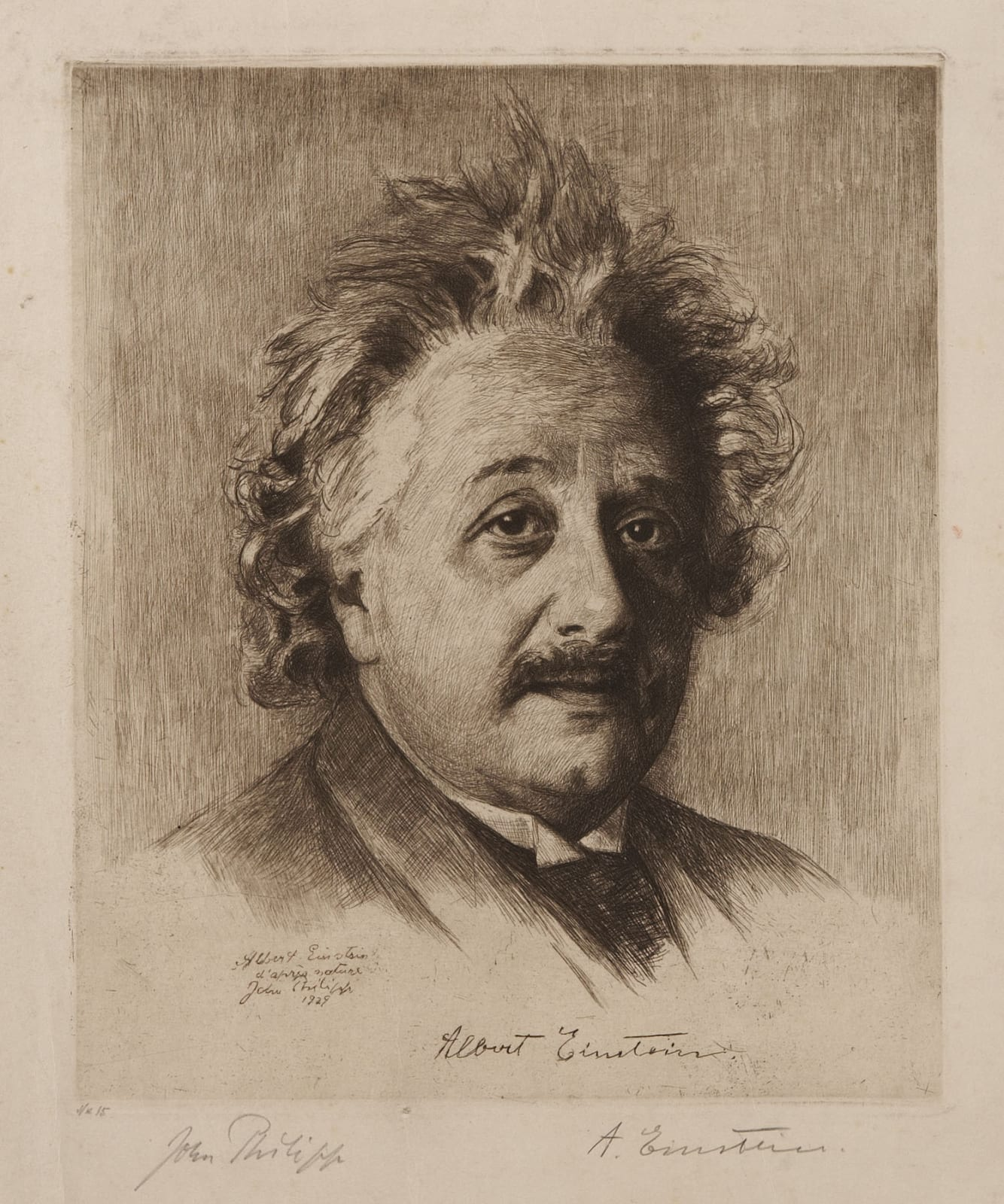 John Philipp (1872-1938) Albert Einstein 1929 Etching on paper 29.5 x 24 cm Ben Uri Collection To see and discover more about this artist click here