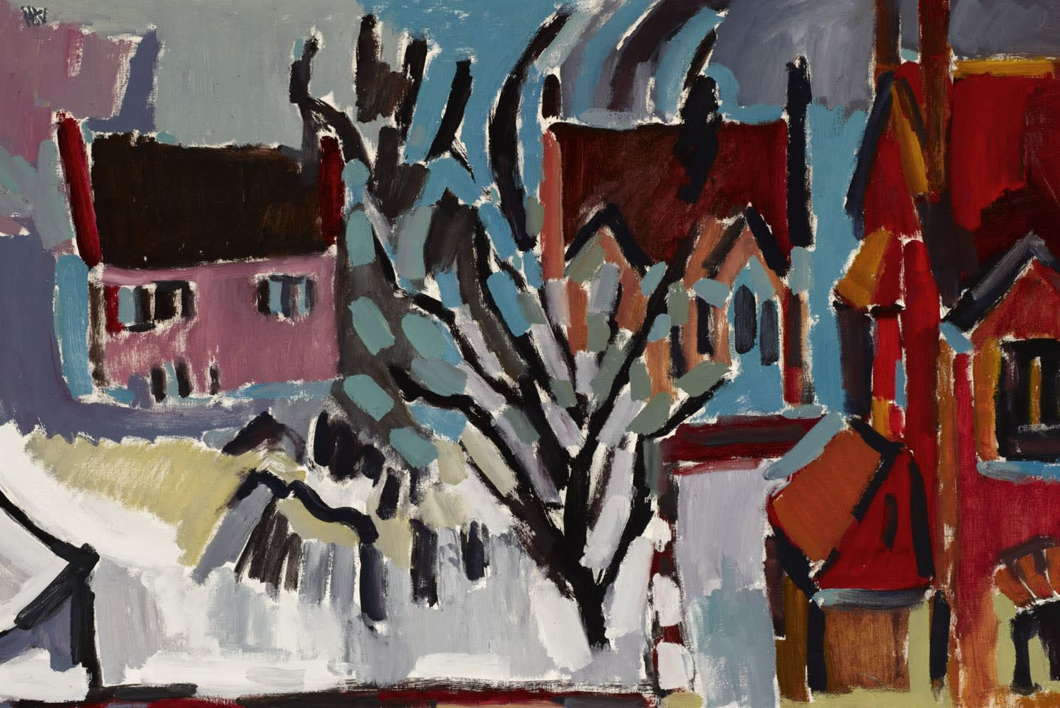 Harry Weinberger (1924-2009) In Winter, Manchester n.d. Acrylic on canvas 60 x 90 cm Ben Uri Collection © Harry Weinberger estate To see and discover more about this artist click here