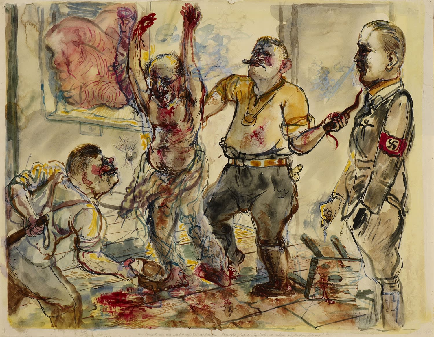 George Grosz (1893-1959) Interrogation 1938 Watercolour and ink on paper 46 x 59 cm Ben Uri Collection © George Grosz estate To see and discover more about this artist click here