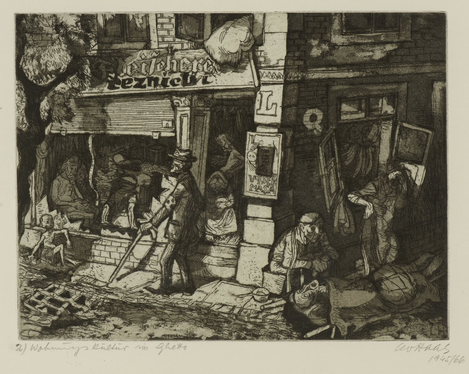 Leo Haas (1901-1983) Ghetto (Terezín-Theresienstadt series) 1945-66 Drypoint aquatint and etching on paper 21.5 x 28.4 cm Ben Uri Collection © Leo Haas estate To see and discover more about this artist click here