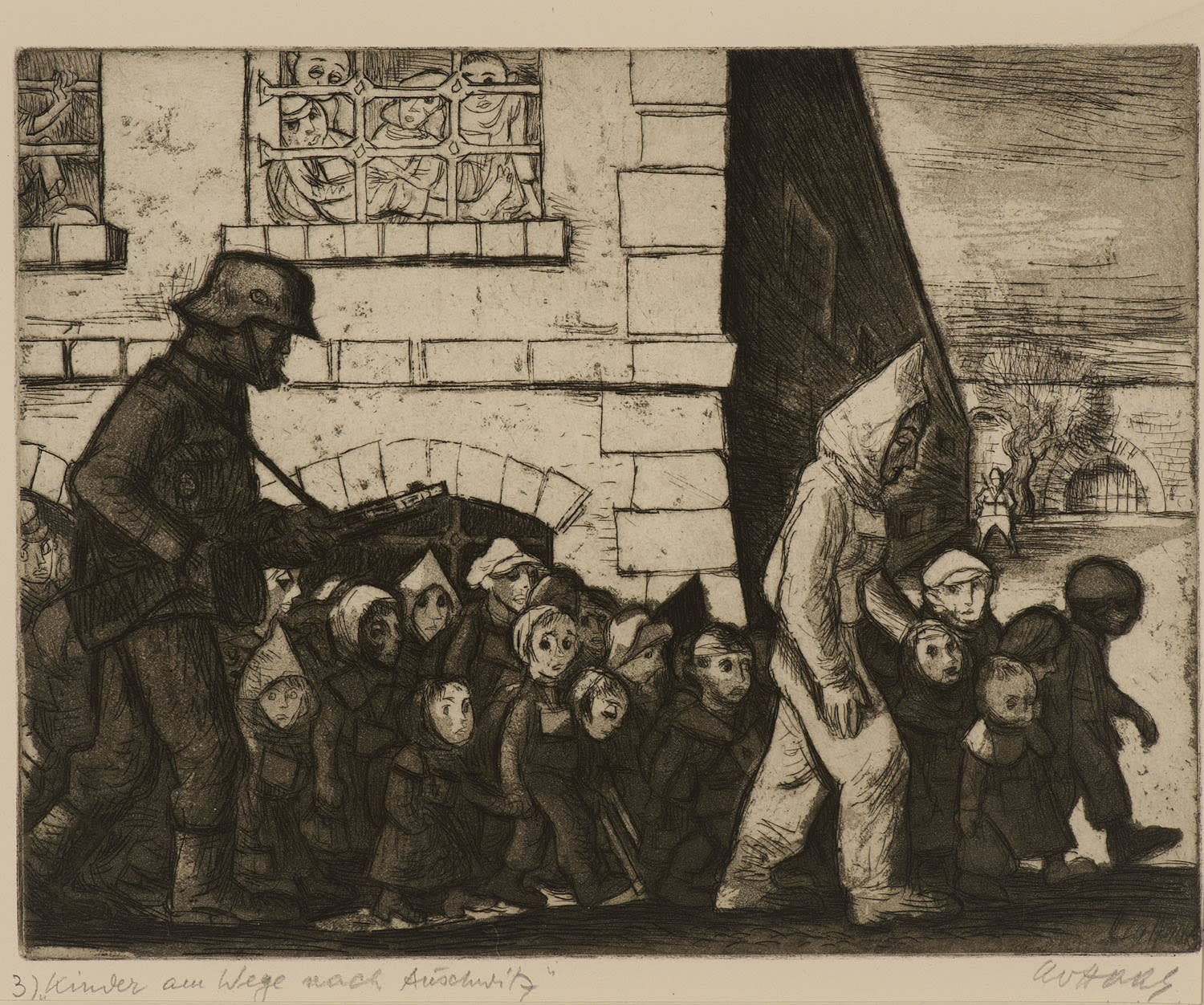 Leo Haas (1901-1983) Children on the Way to Auschwitz (Terezín-Theresienstadt series) 1945-66 Drypoint and aquatint on paper 24 x 30 cm Ben Uri Collection © Leo Haas estate To see and discover more about this artist click here