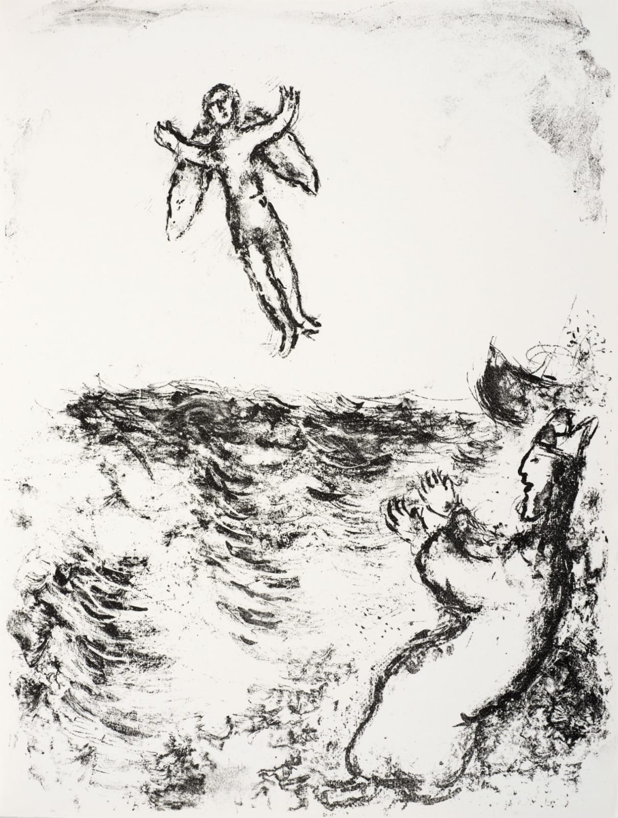 Marc Chagall (1887-1985) Prospero sets Ariel free, and He is seen flying upward above the billowing Sea (Series: Shakespeare The Tempest) 1975 Lithograph 42.5 x 32.5 cm Ben Uri Collection © Marc Chagall estate To see and discover more about this artist click here