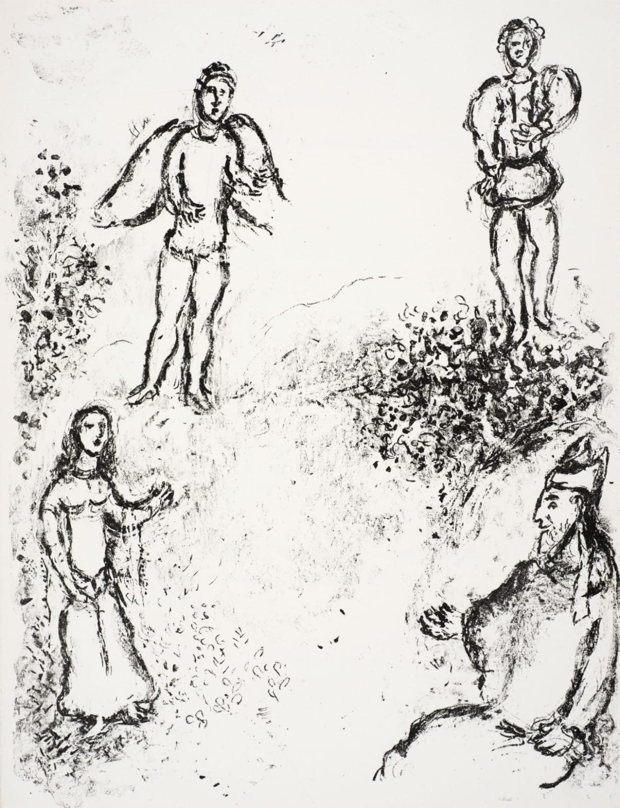 Marc Chagall (1887-1985) Prospero, Miranda, Ariel, and Ferdinand (Series: Shakespeare The Tempest) 1975 Lithograph 42.5 x 32.5 cm Ben Uri Collection © Marc Chagall estate To see and discover more about this artist click here