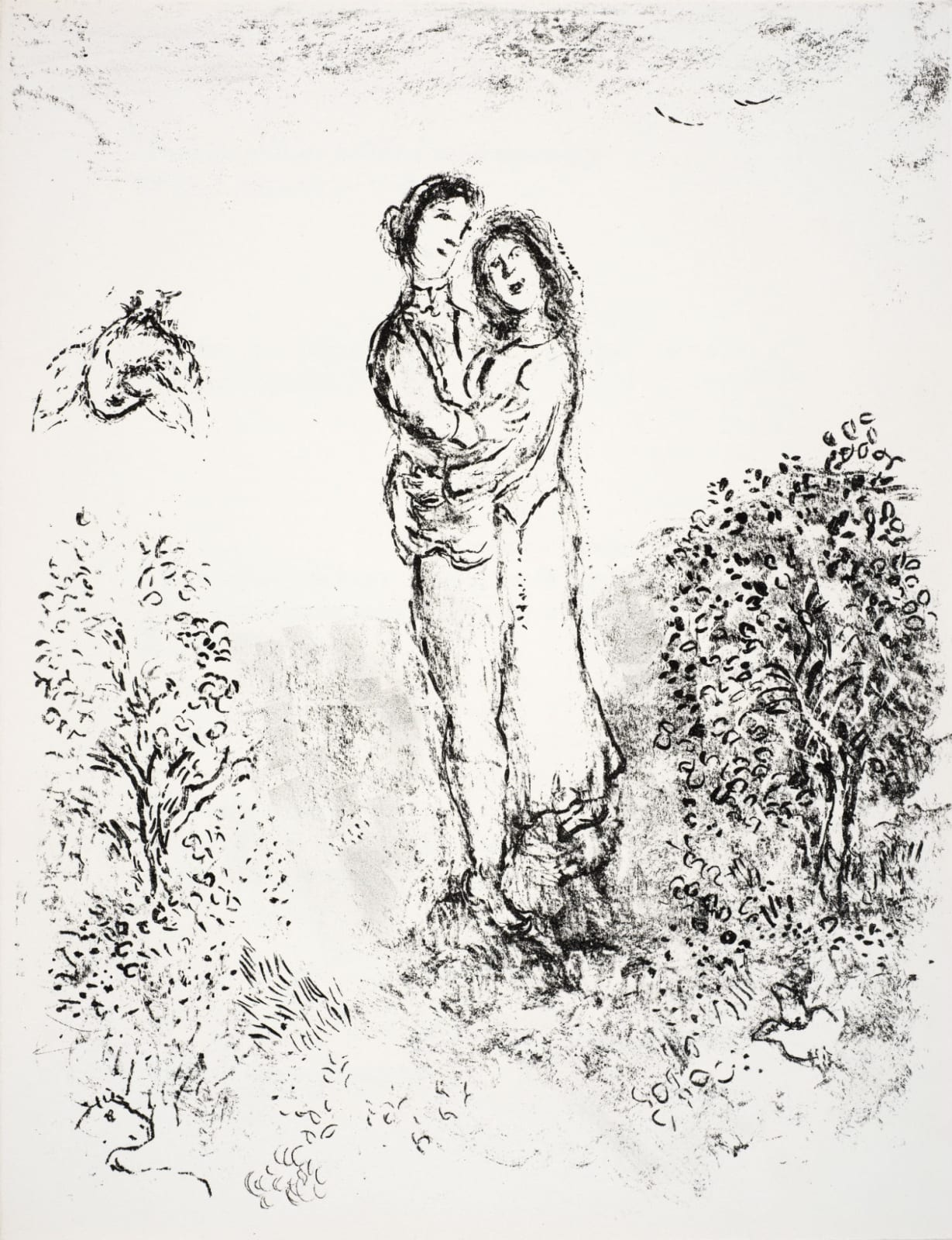 Marc Chagall (1887-1985) Ferdinand and Miranda embrace (Series: Shakespeare The Tempest) 1975 Lithograph 42.5 x 32.5 cm Ben Uri Collection © Marc Chagall estate To see and discover more about this artist click here