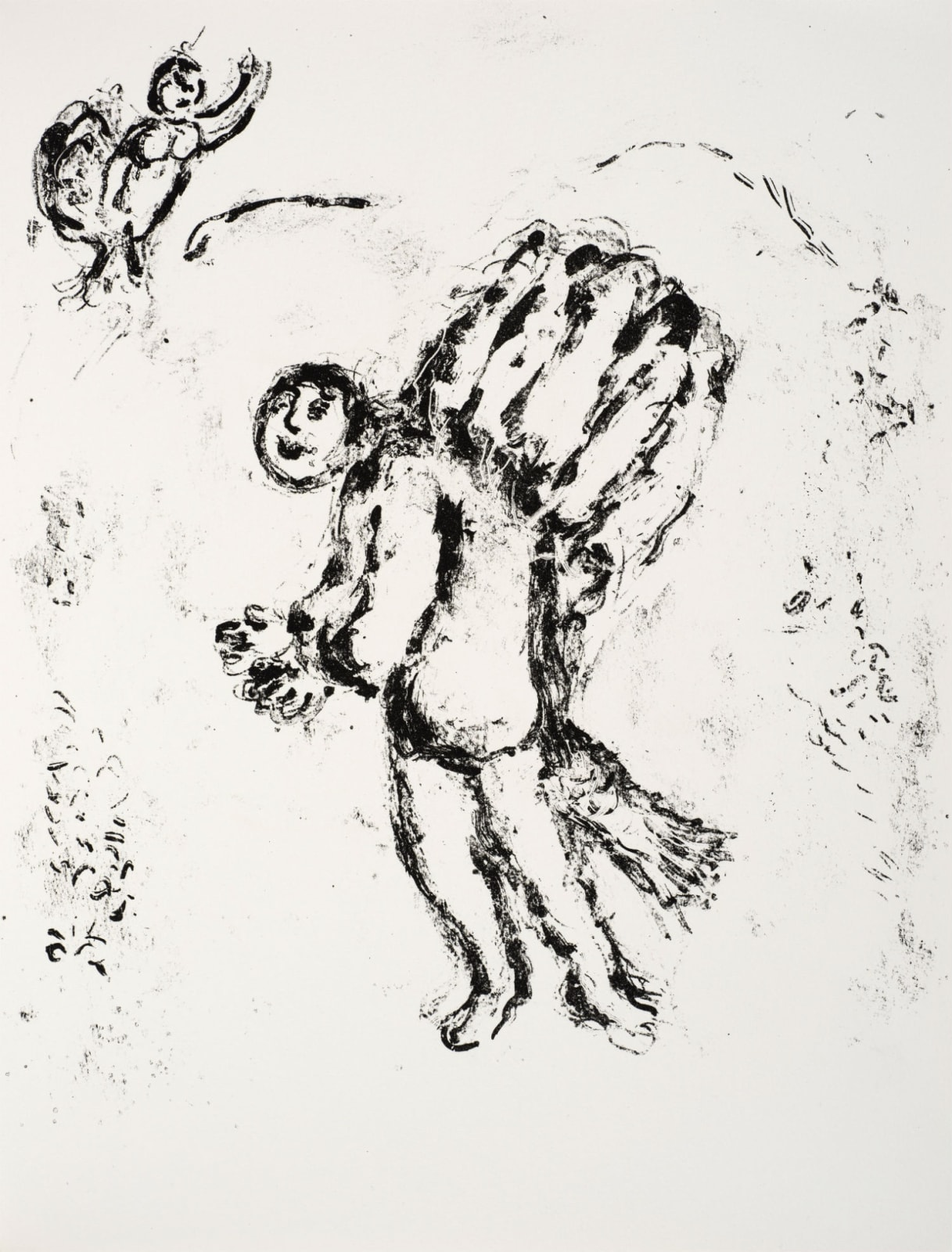 Marc Chagall (1887-1985) Caliban, with fish-tail, carries firewood (Series: Shakespeare The Tempest) 1975 Lithograph 42.5 x 32.5 cm Ben Uri Collection © Marc Chagall estate To see and discover more about this artist click here