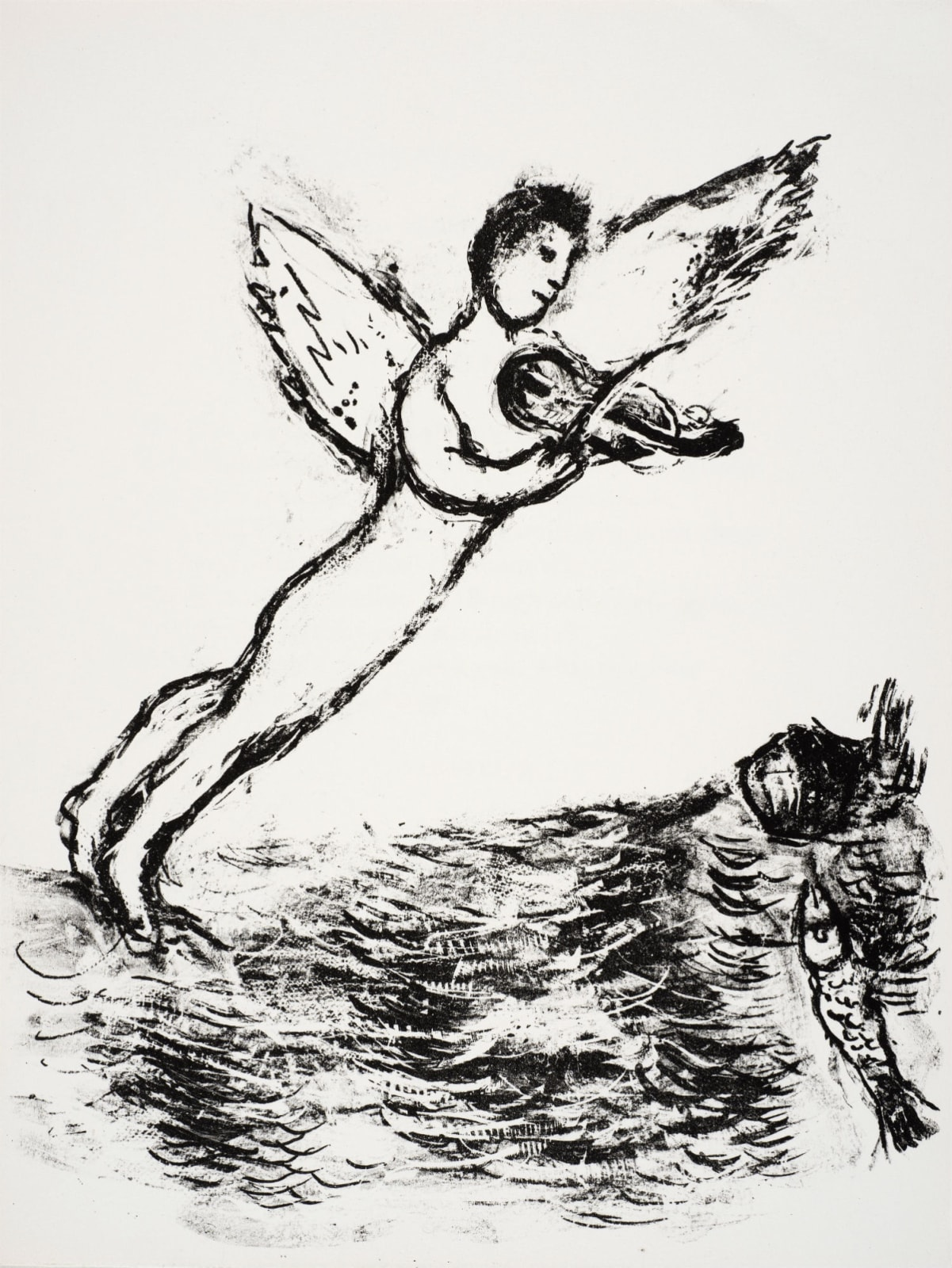 Marc Chagall (1887-1985) Ariel posed above the Sea, playing the Violin (Series: Shakespeare The Tempest) 1975 Lithograph 42.5 x 32.5 cm Ben Uri Collection © Marc Chagall estate To see and discover more about this artist click here