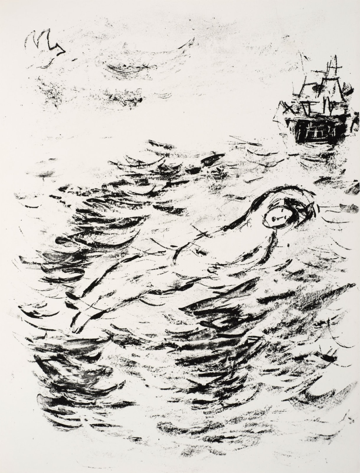 Marc Chagall (1887-1985) Ferdinand's supposed drowning, as imagined by his Father (Series: Shakespeare The Tempest) 1975 Lithograph 42.5 x 32.5 cm Ben Uri Collection © Marc Chagall estate To see and discover more about this artist click here