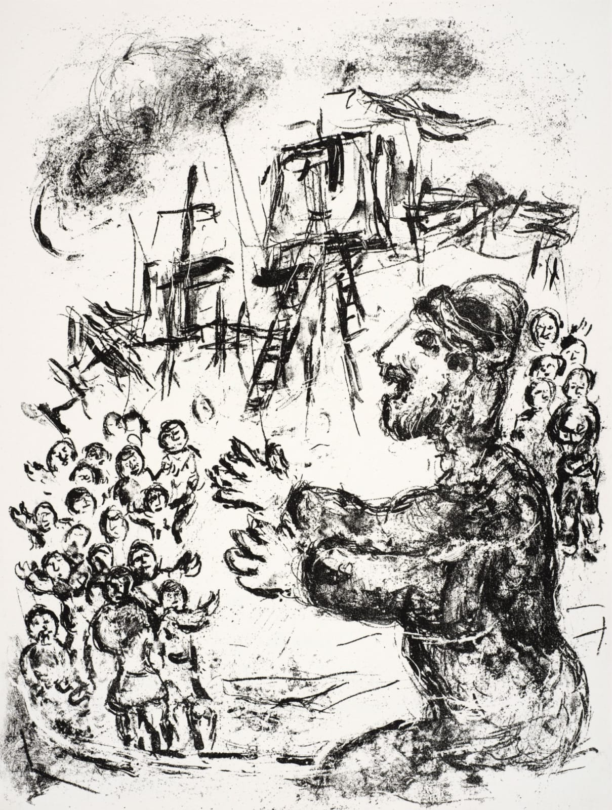 Marc Chagall (1887-1985) The Boatswain Greets the Passengers (Series: Shakespeare The Tempest) 1975 Lithograph 42.5 x 32.5 cm Ben Uri Collection © Marc Chagall estate To see and discover more about this artist click here
