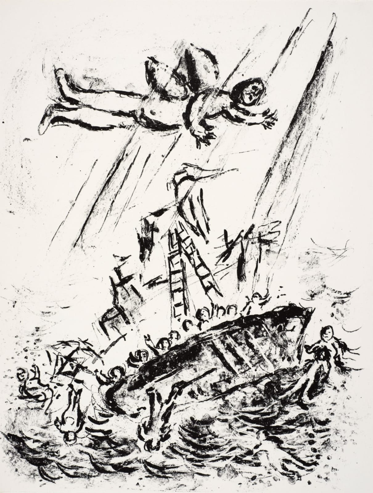 Marc Chagall (1887-1985) Ariel flies above the sinking Ship (Series: Shakespeare The Tempest) 1975 Lithograph 42.5 x 32.5 cm Ben Uri Collection © Marc Chagall estate To see and discover more about this artist click here