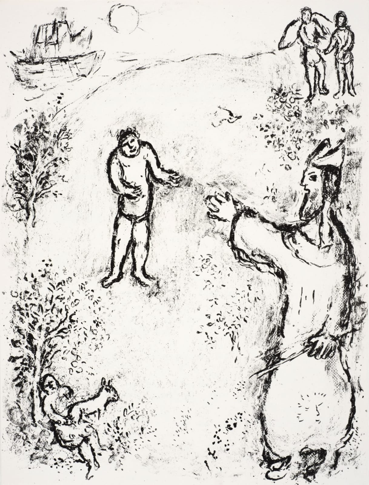 Marc Chagall (1887-1985) Caliban resists his master Prospero (Series: Shakespeare The Tempest) 1975 Lithograph 42.5 x 32.5 cm Ben Uri Collection © Marc Chagall estate To see and discover more about this artist click here