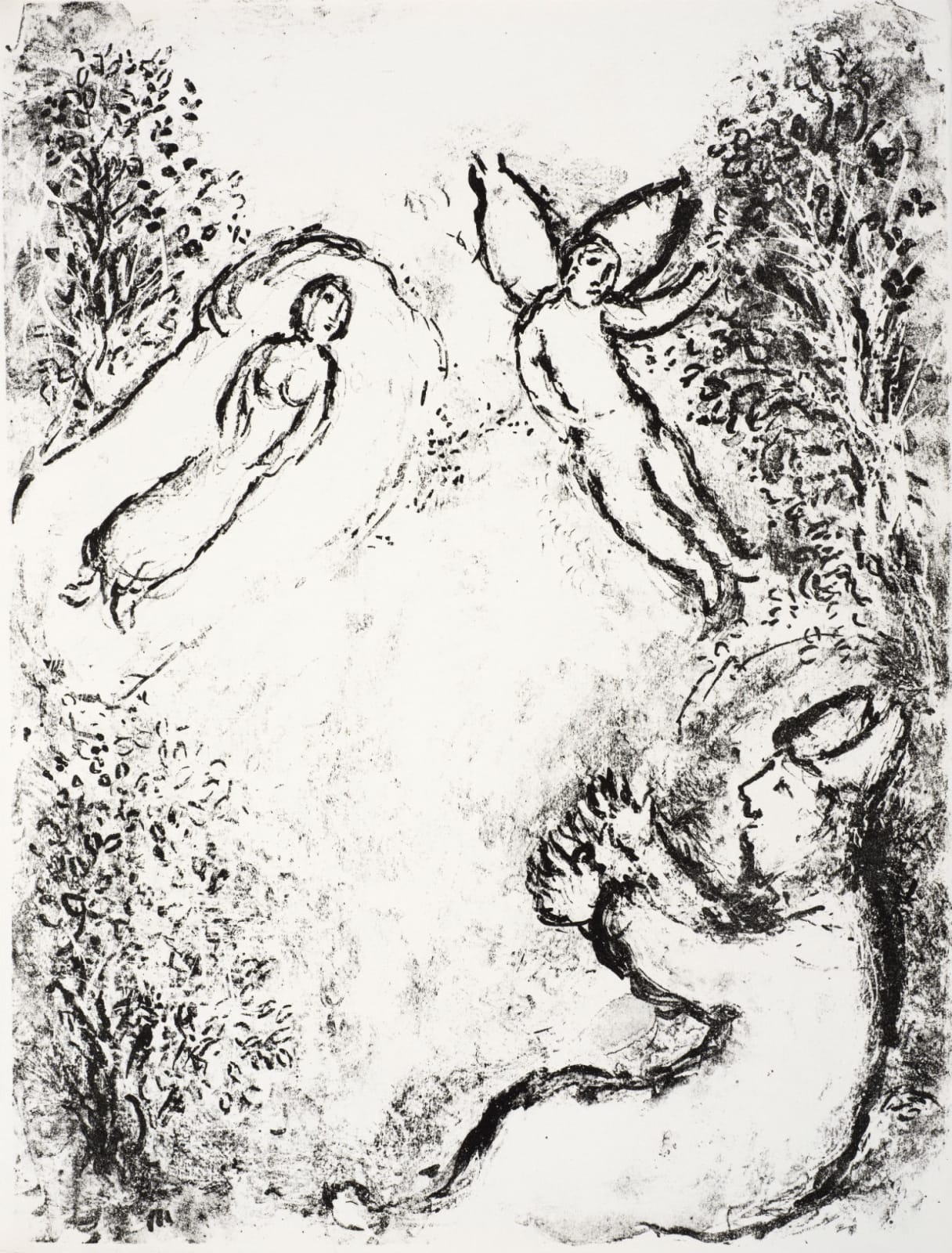 Marc Chagall (1887-1985) While Miranda sleeps, Prospero summons Ariel (Series: Shakespeare The Tempest) 1975 Lithograph 42.5 x 32.5 cm Ben Uri Collection © Marc Chagall estate To see and discover more about this artist click here